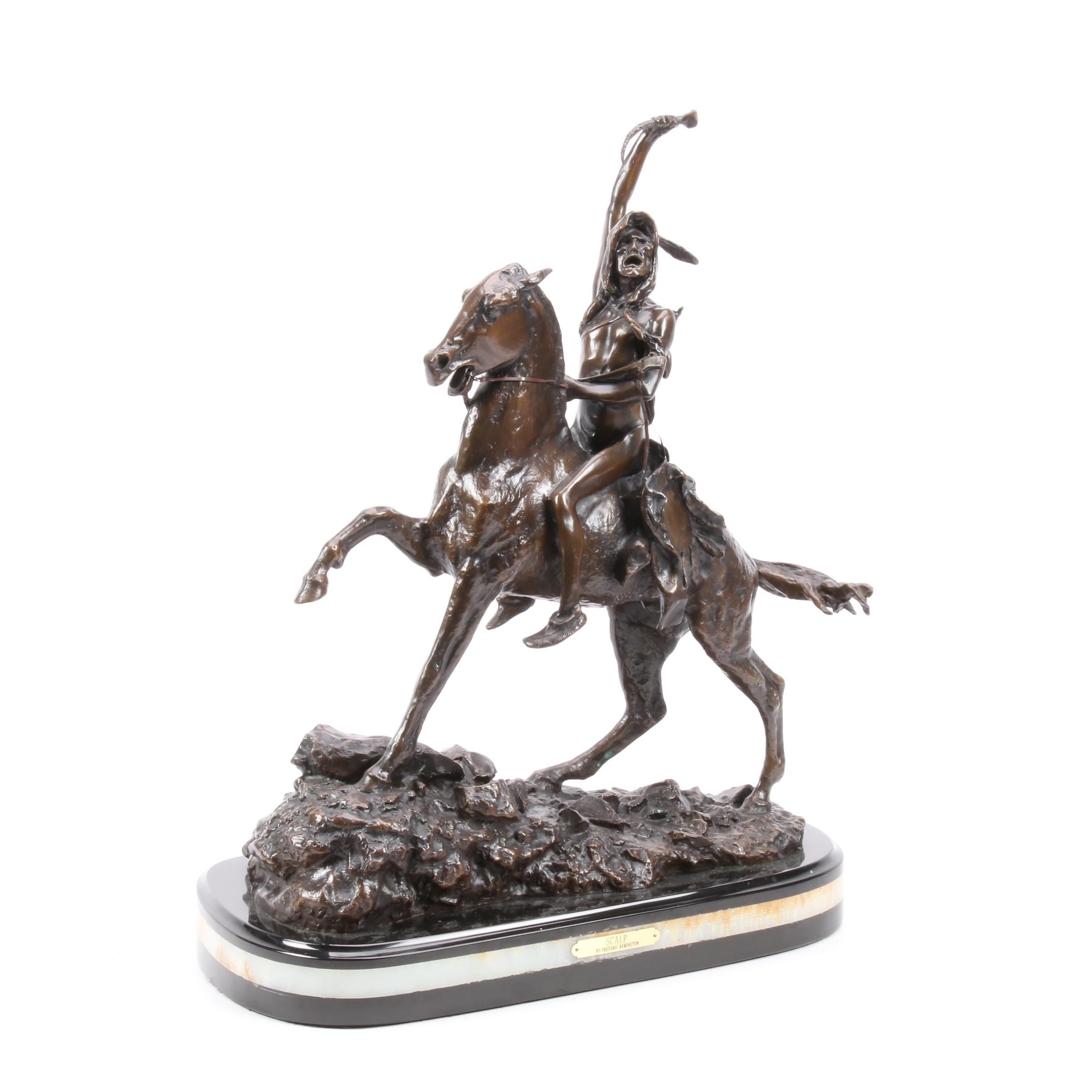 """Scalp"" Bronze Sculpture After Frederic Remington, Late 20th Century"