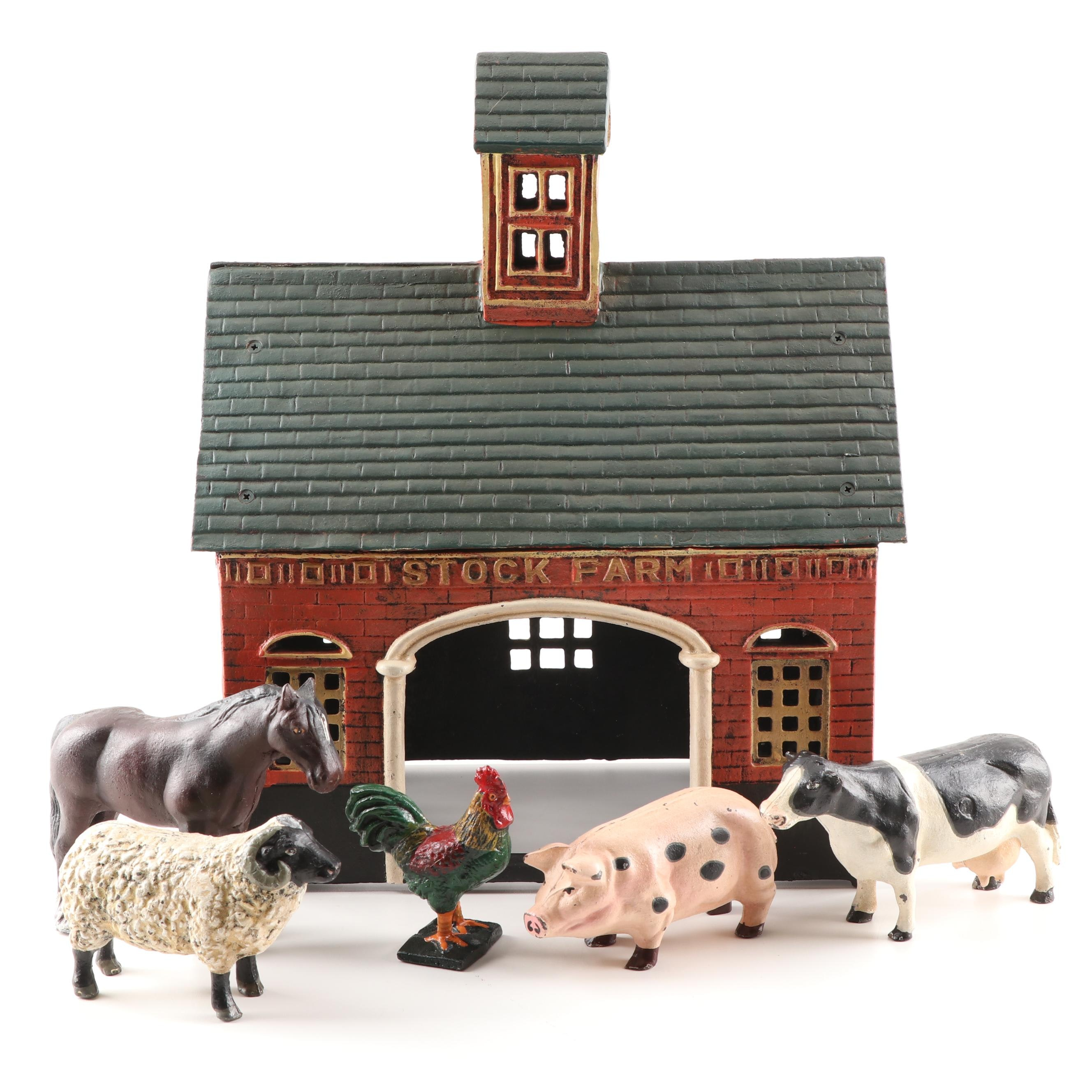 "Vintage Cast Iron ""Stock Farm"" Barn and Animals"