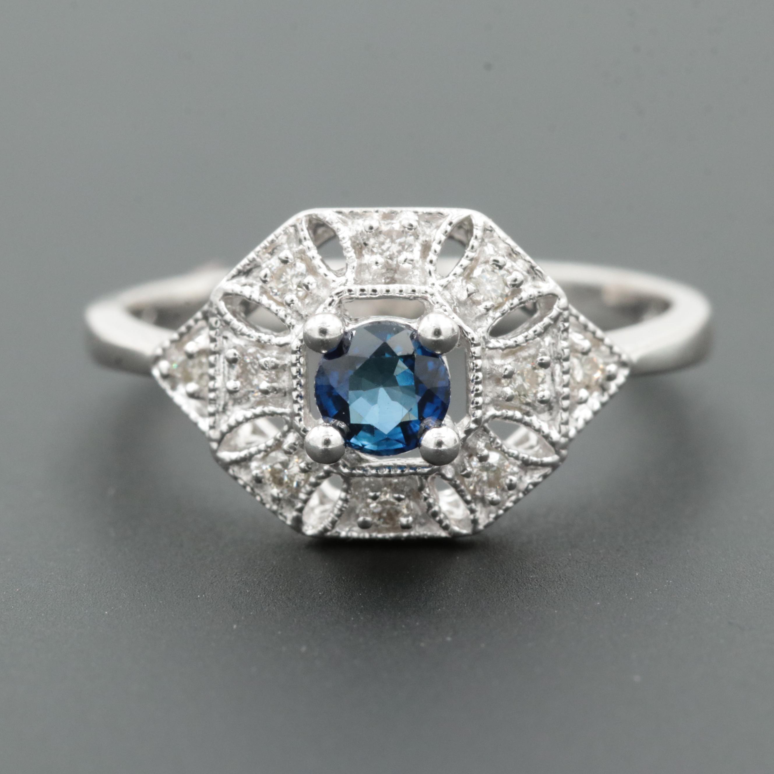 14K White Gold Blue Sapphire and Diamond Openwork and Milgrain Ring