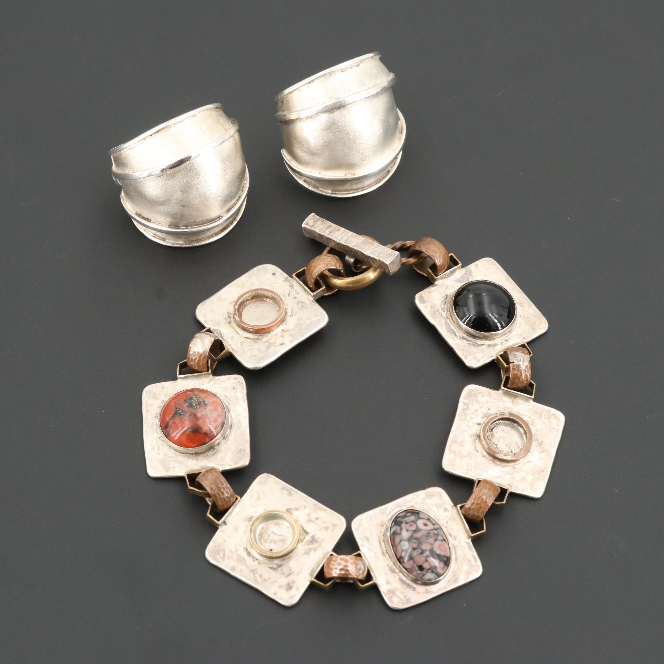Sterling Silver Earrings and Robin Lee Becker Sterling Gemstone Bracelet