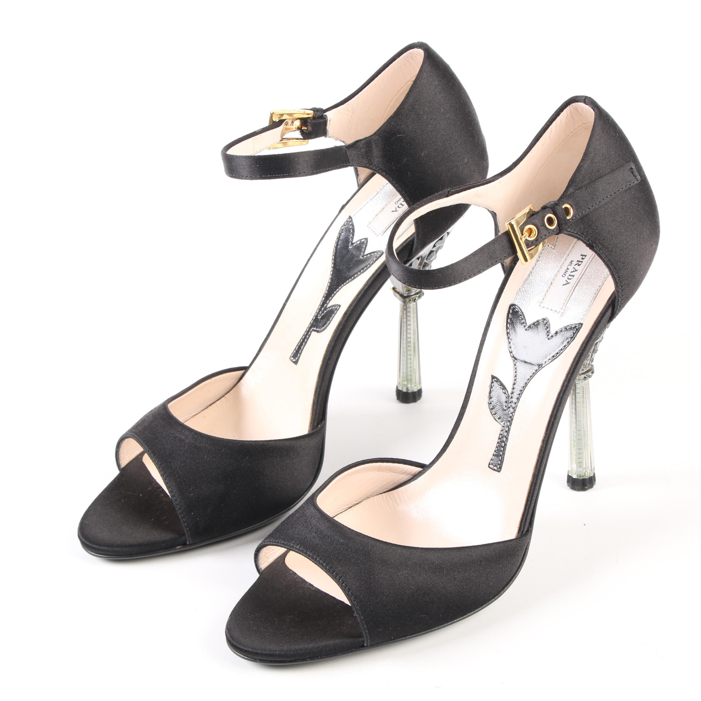 Prada Raso Jewels Black Satin Ankle Strap Open Toe Sandals with Embellished Heel