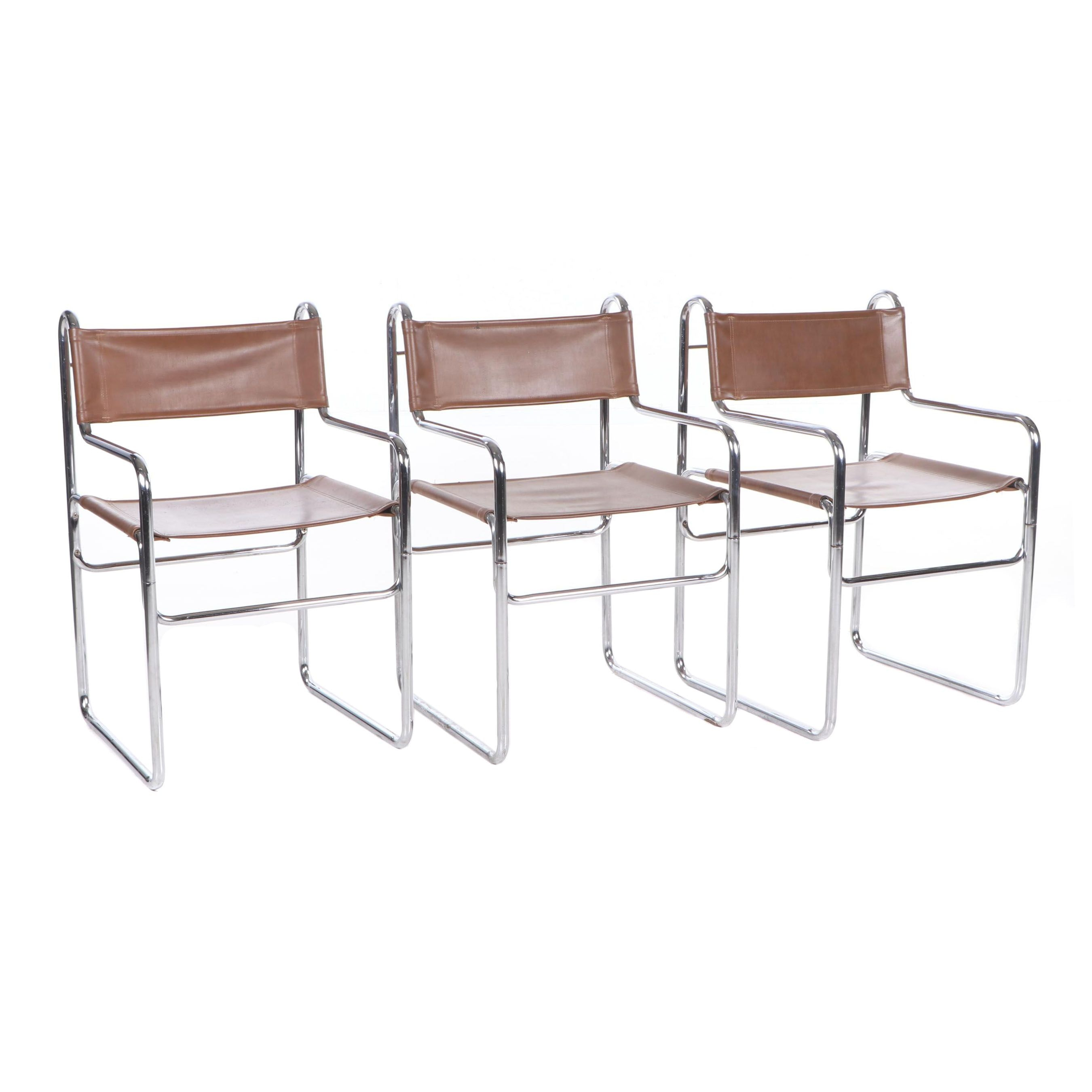 Mid-Century Mies van der Rohe Style Chrome and Leatherette Cantilever Chairs