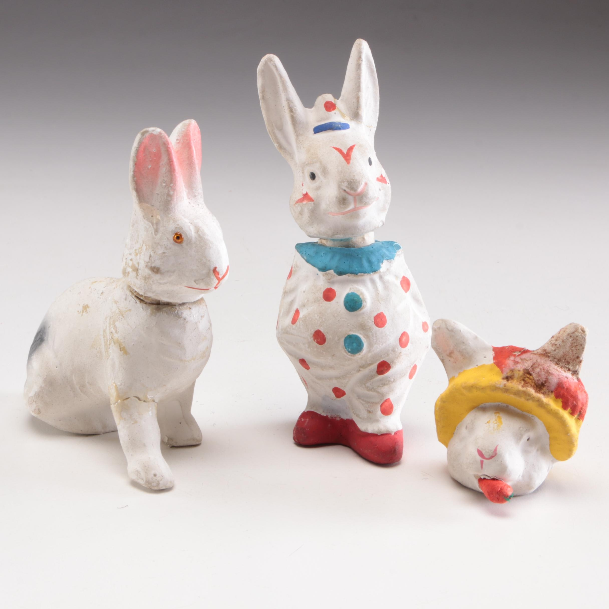 Papier-Mâché Candy Container Rabbit Figurines, Early to Mid 20th Century