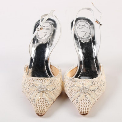 88a2850fdb3 René Caovilla Embellished Crochet Lace and White Leather Ankle Strap High  Heels
