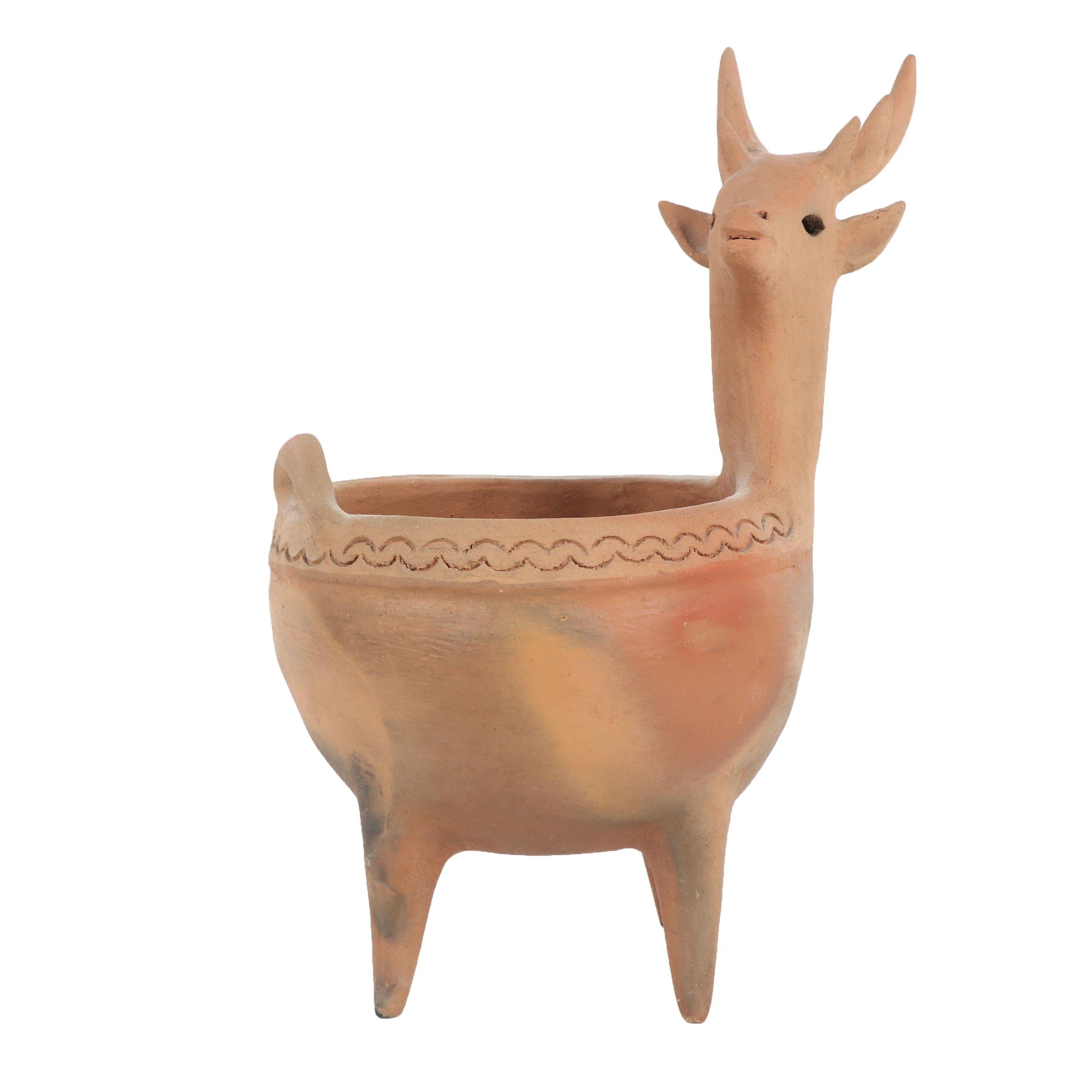 Vintage Clay Deer Planter