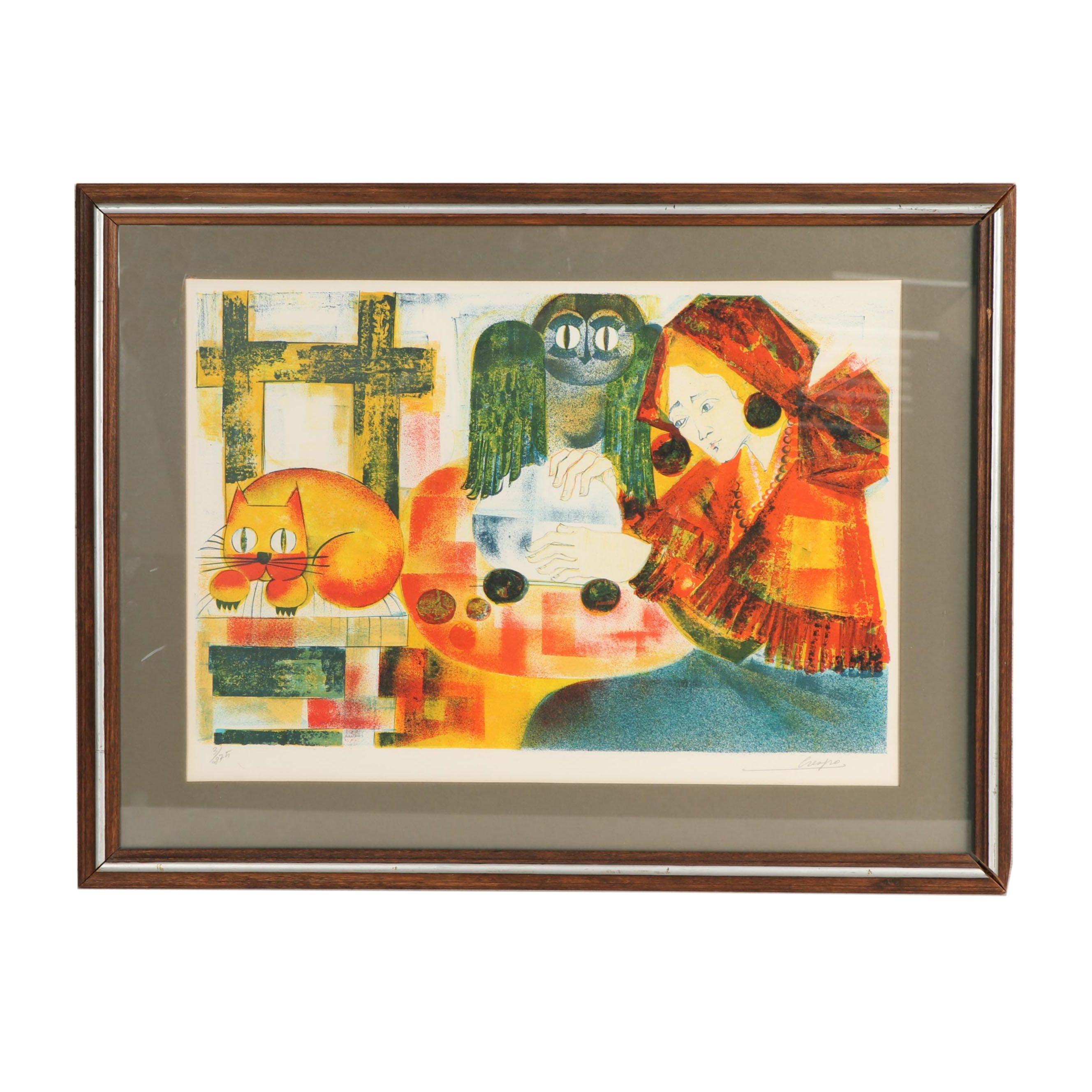 "Lourdes Crespo Lithograph ""The Fortune Teller"""
