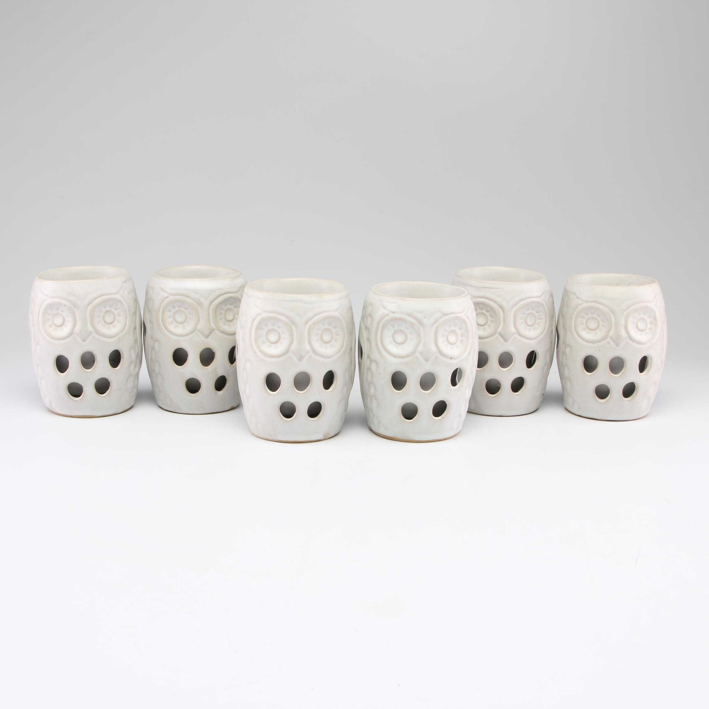 Thrown Double Walled Owl Form Stoneware Tumblers