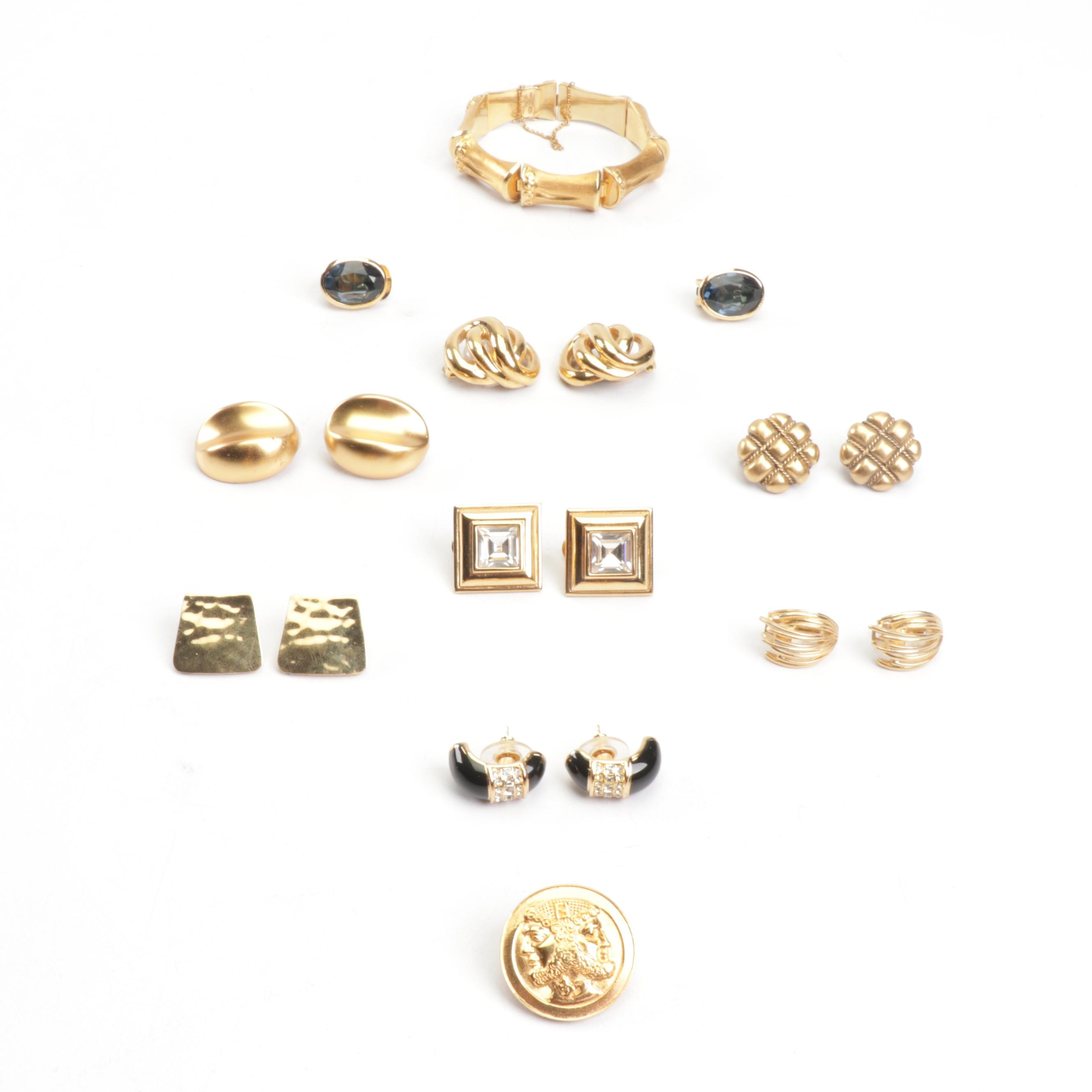 Gold Tone Jewelry Including Christian Dior and Yves Saint Laurent