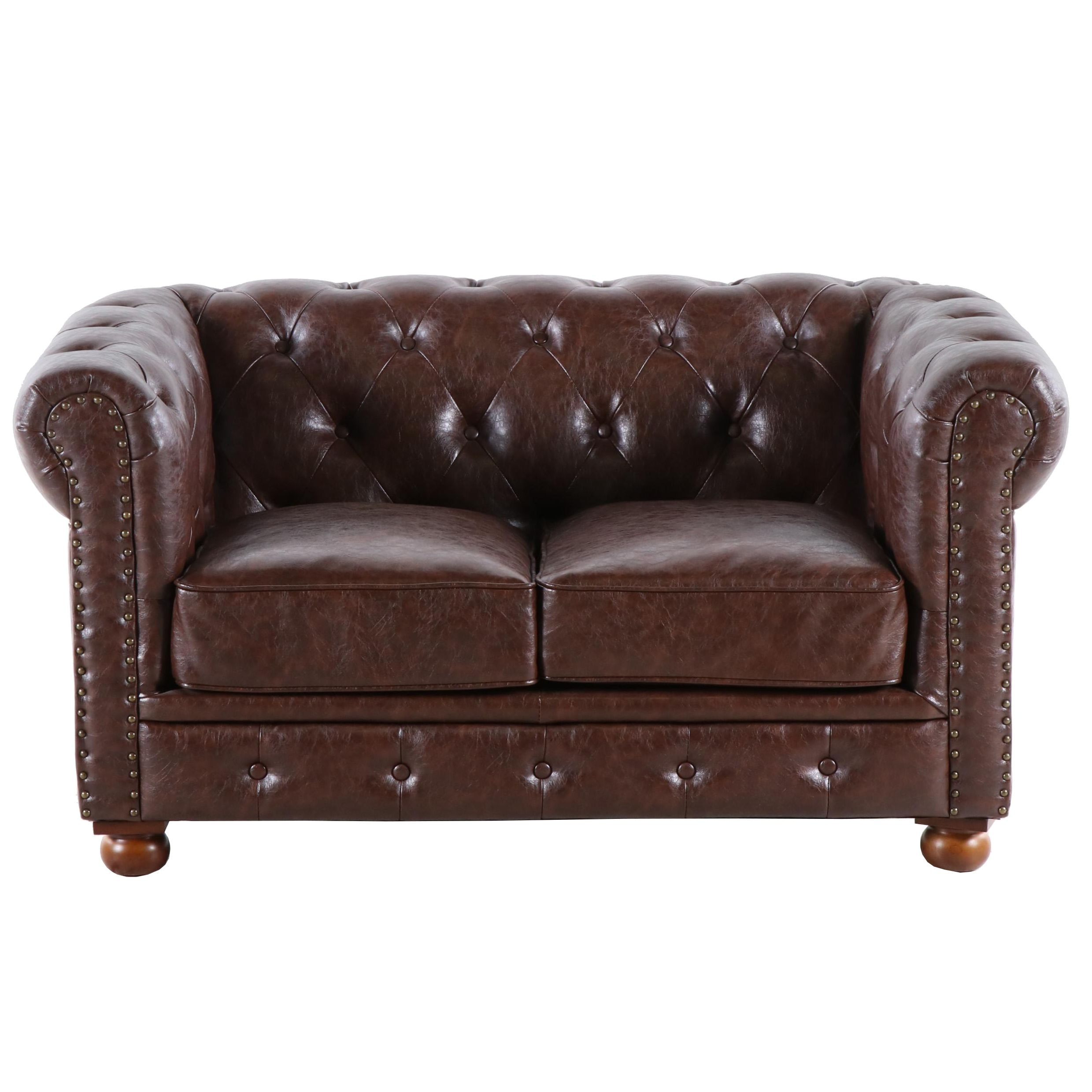 Chesterfield Faux Leather Loveseat, Contemporary
