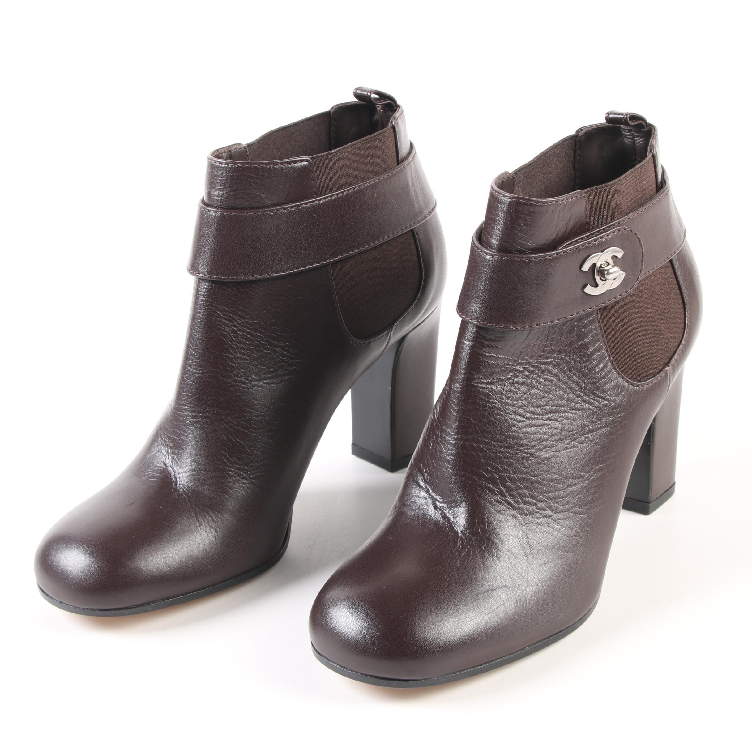 Chanel Brown Leather Chelsea Boots with CC Turnlock Straps
