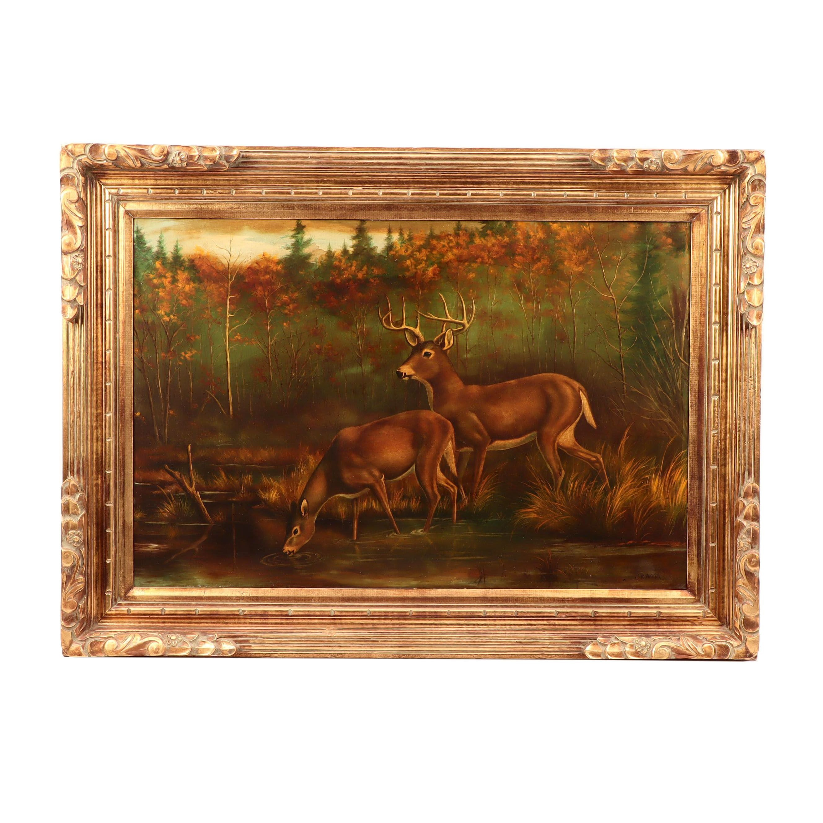 Oil Painting of Deer in a Wooded Landscape