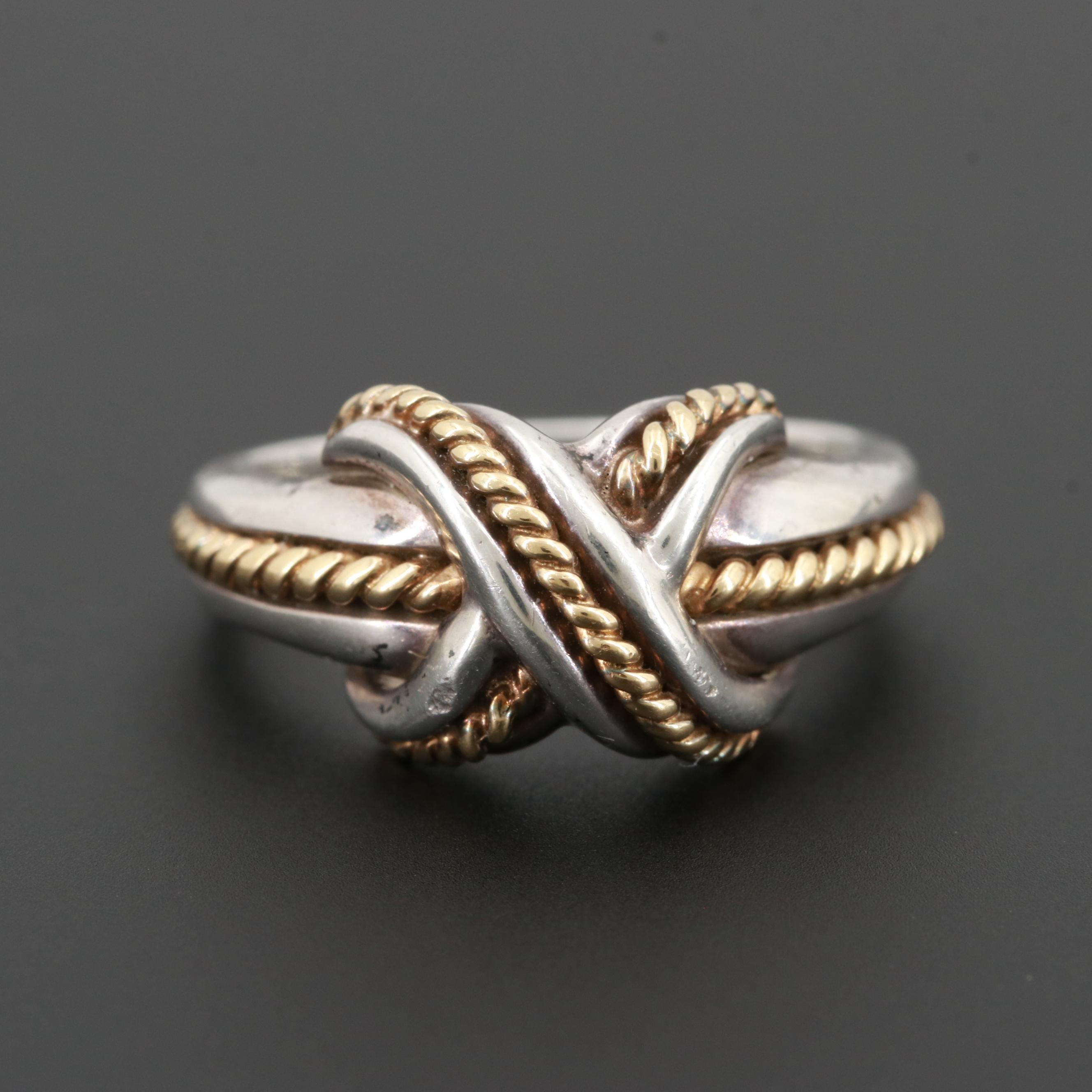 """Tiffany & Co. Sterling Silver """"Signature X"""" Ring with 18K Yellow Gold Accents"""