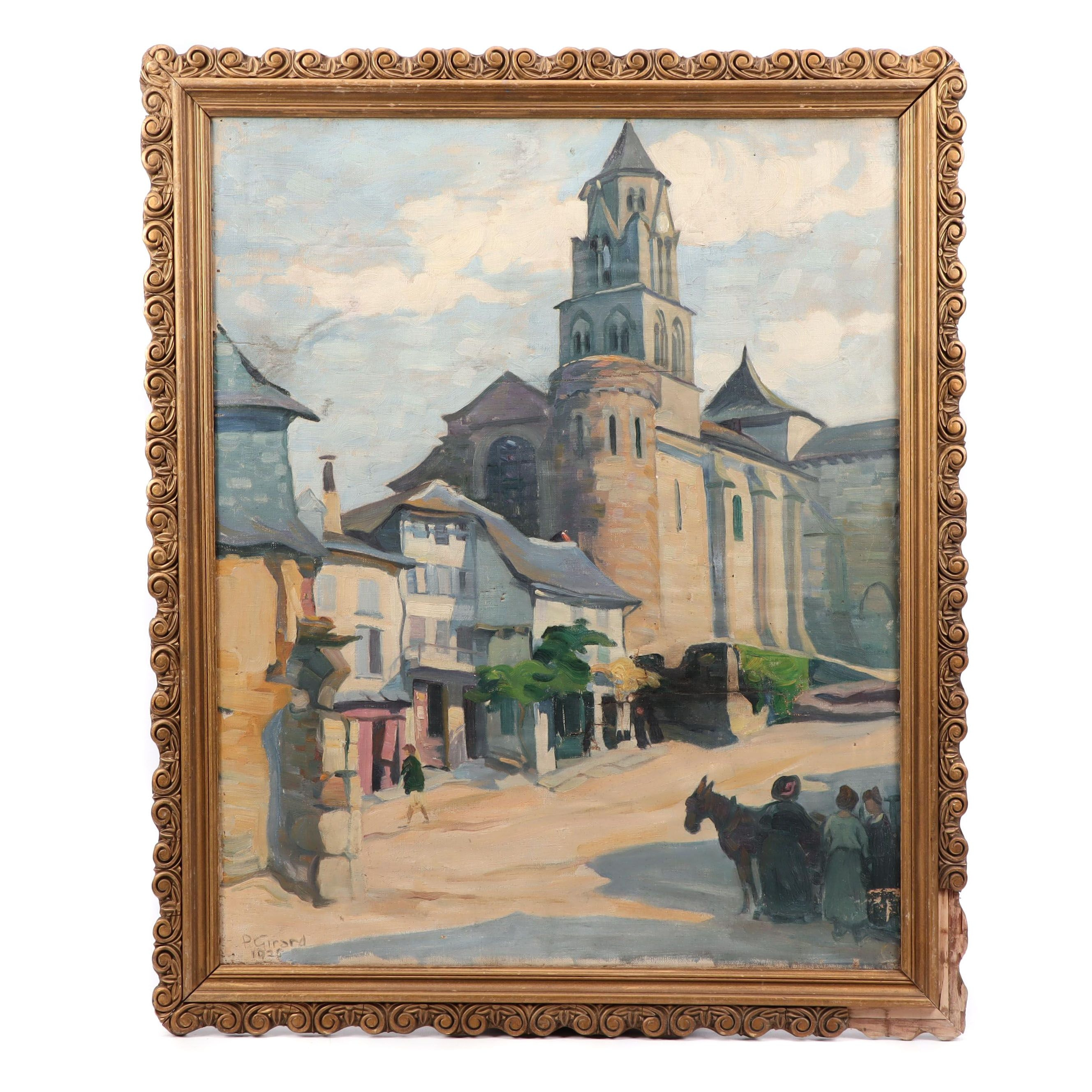 P. Girard 1925 Oil Painting of European Street Scene