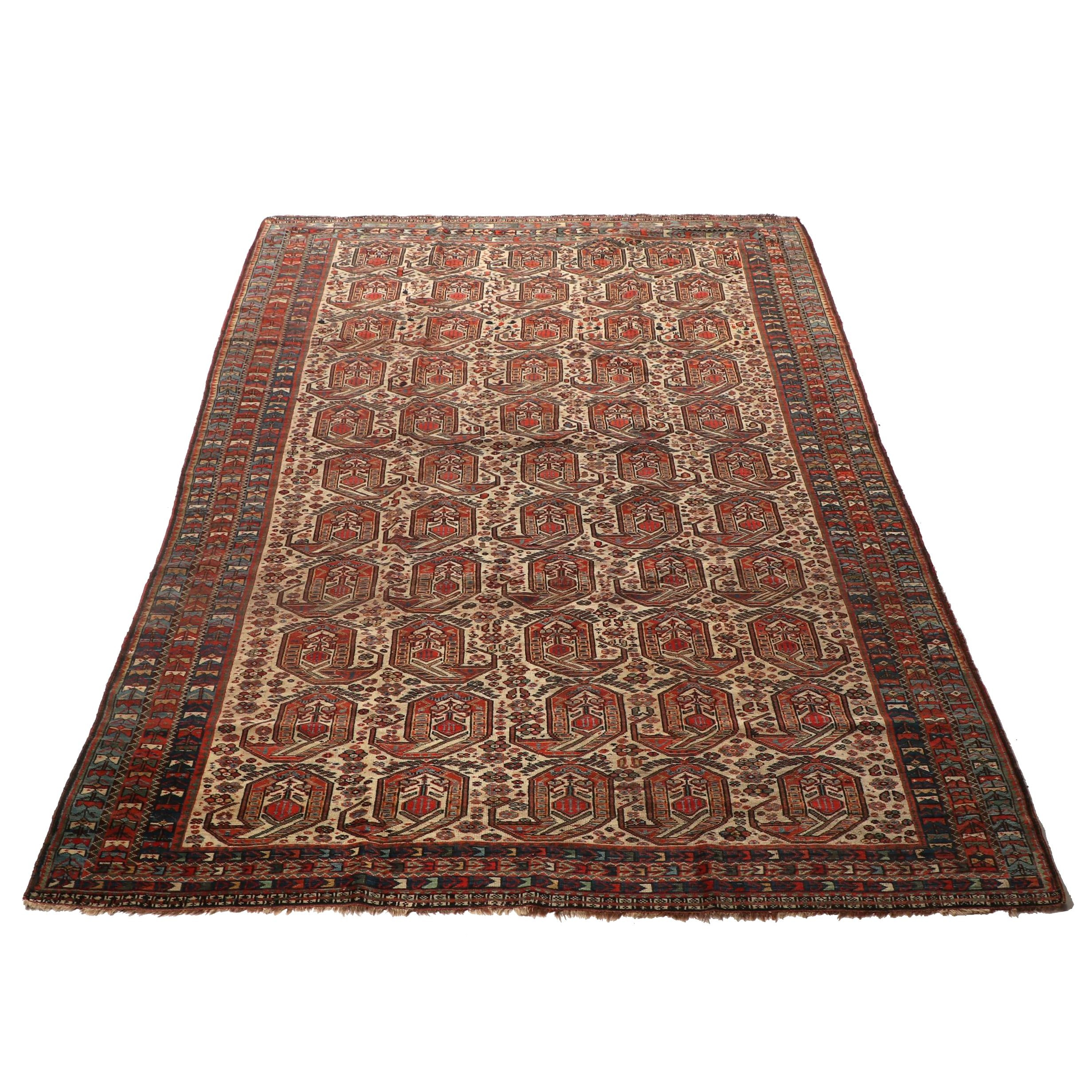 Hand-Knotted Persian Afshar Wool Rug