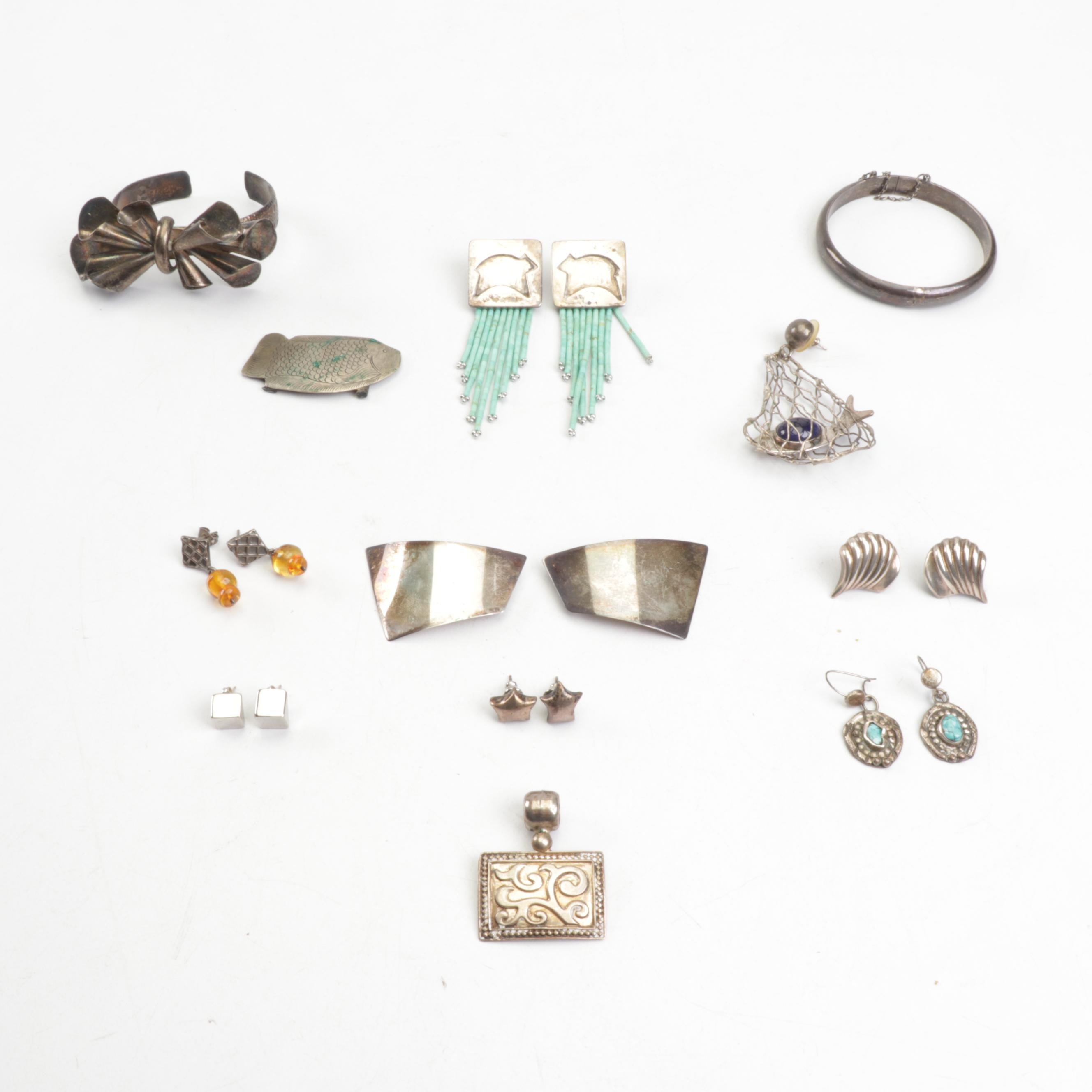 Collection of Sterling Jewelry Including Daslin and Mexican Silver