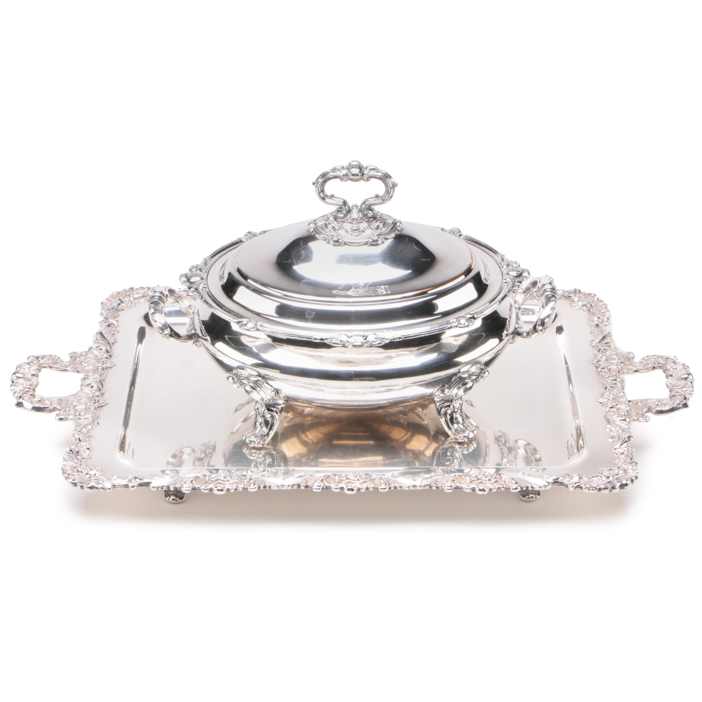 Silver Plate Tureen and Large Service Tray