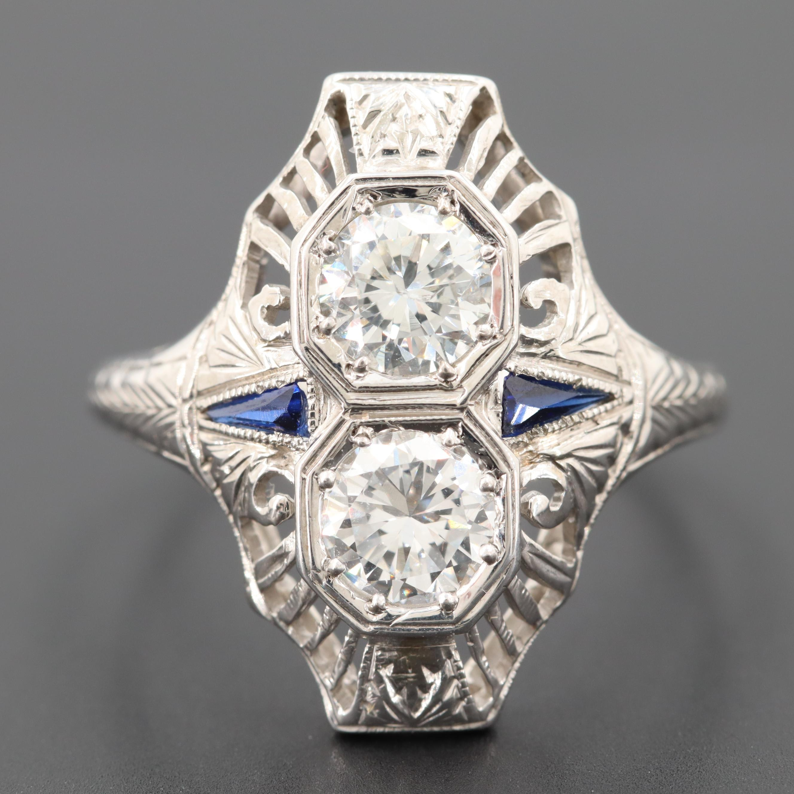 Vintage 18K White Gold Diamond and Synthetic Blue Sapphire Ring