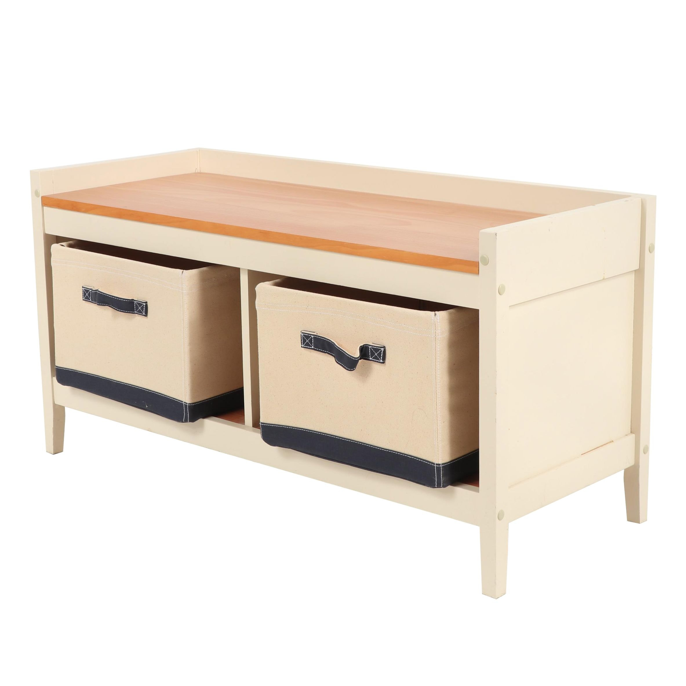Contemporary Storage Bench with Cushion and Personalized Storage Baskets