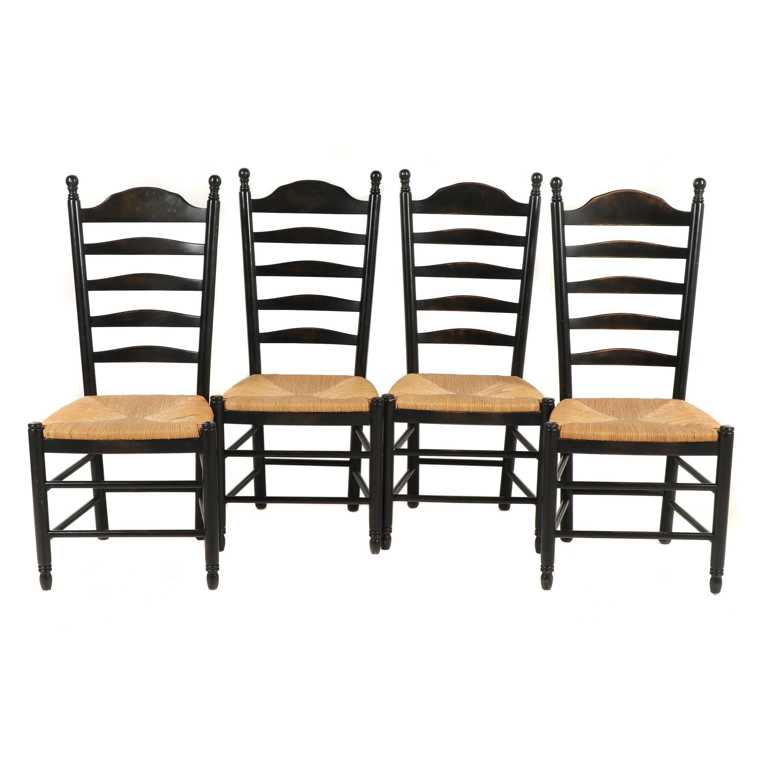 Four American Primitive Style Ebonized Wooden, Rush Seat Side Chairs