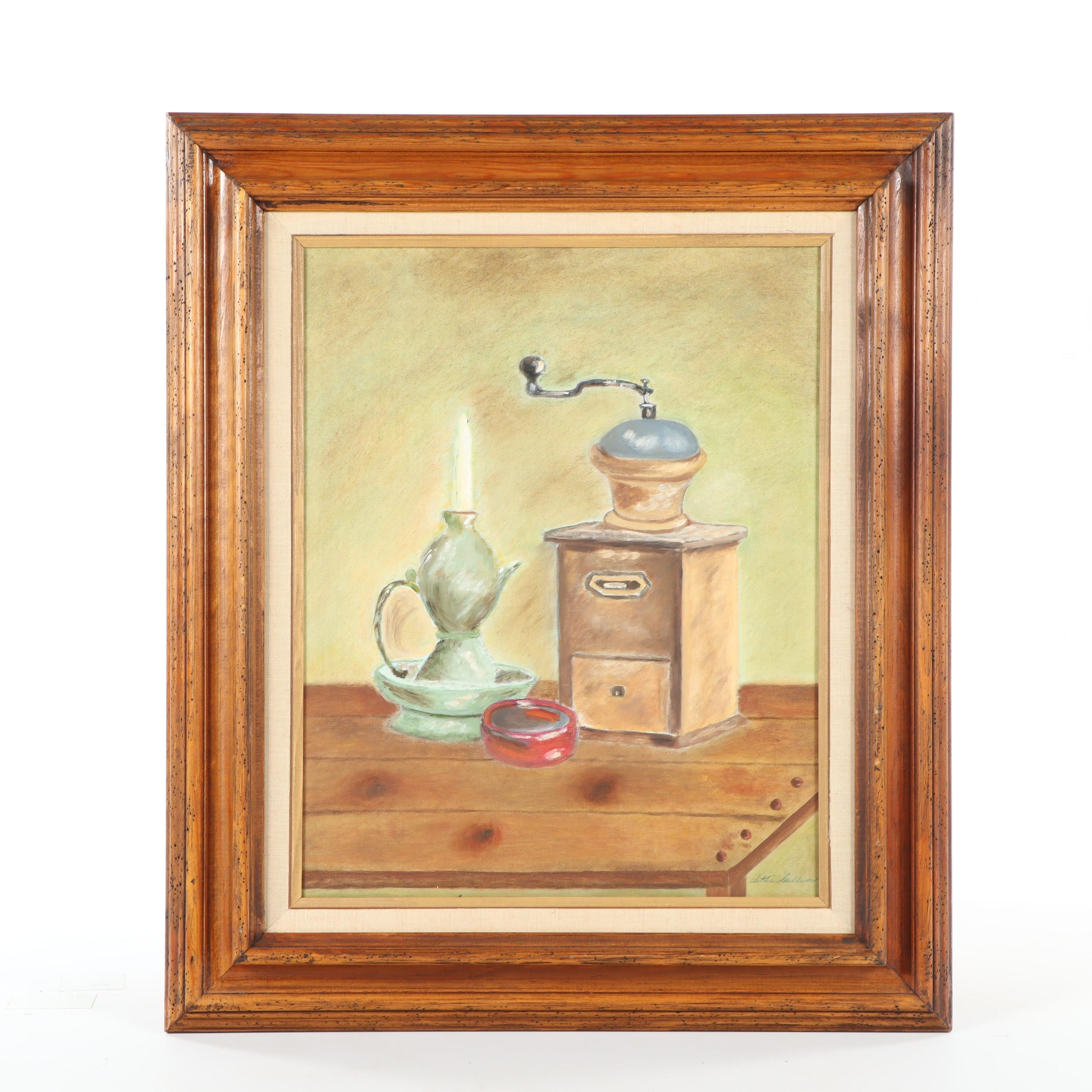 "Late 20th Century Still Life Oil Painting ""Gold Coffee Grinder"""