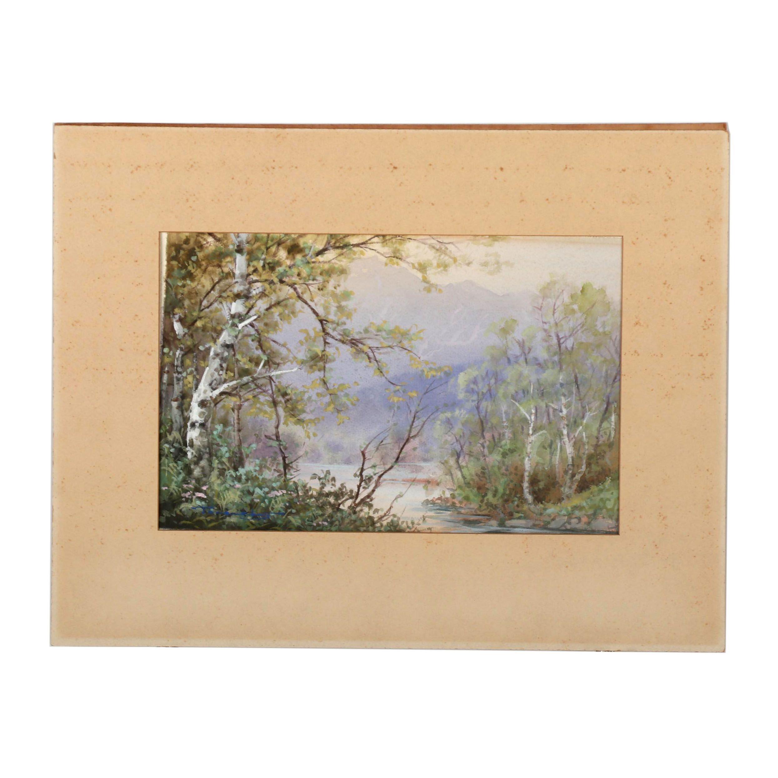 Mid 20th Century Landscape Gouache Painting