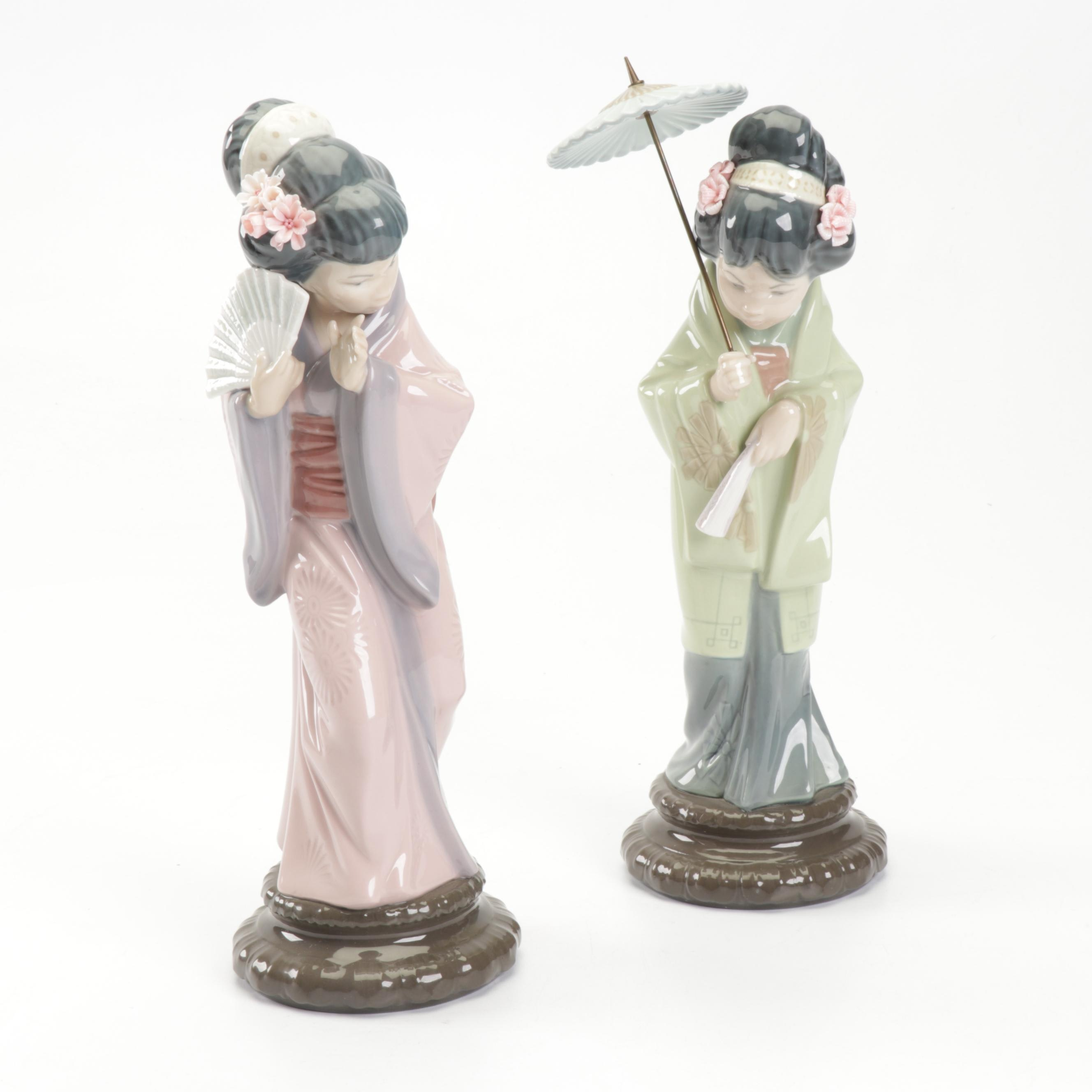 Lladró Porcelain Woman Holding Umbrella and Fan Figurines