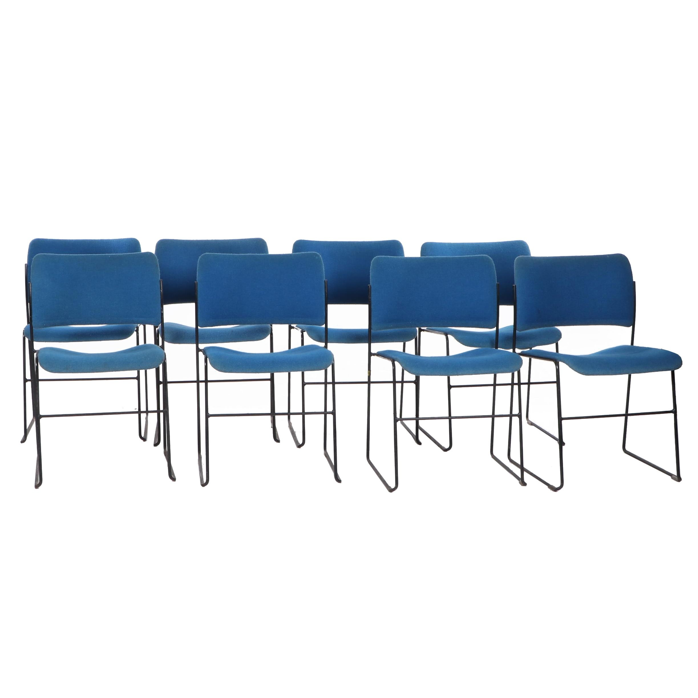 Set of Eight David Rowland Modern Upholstered Steel Chairs by GF Furniture