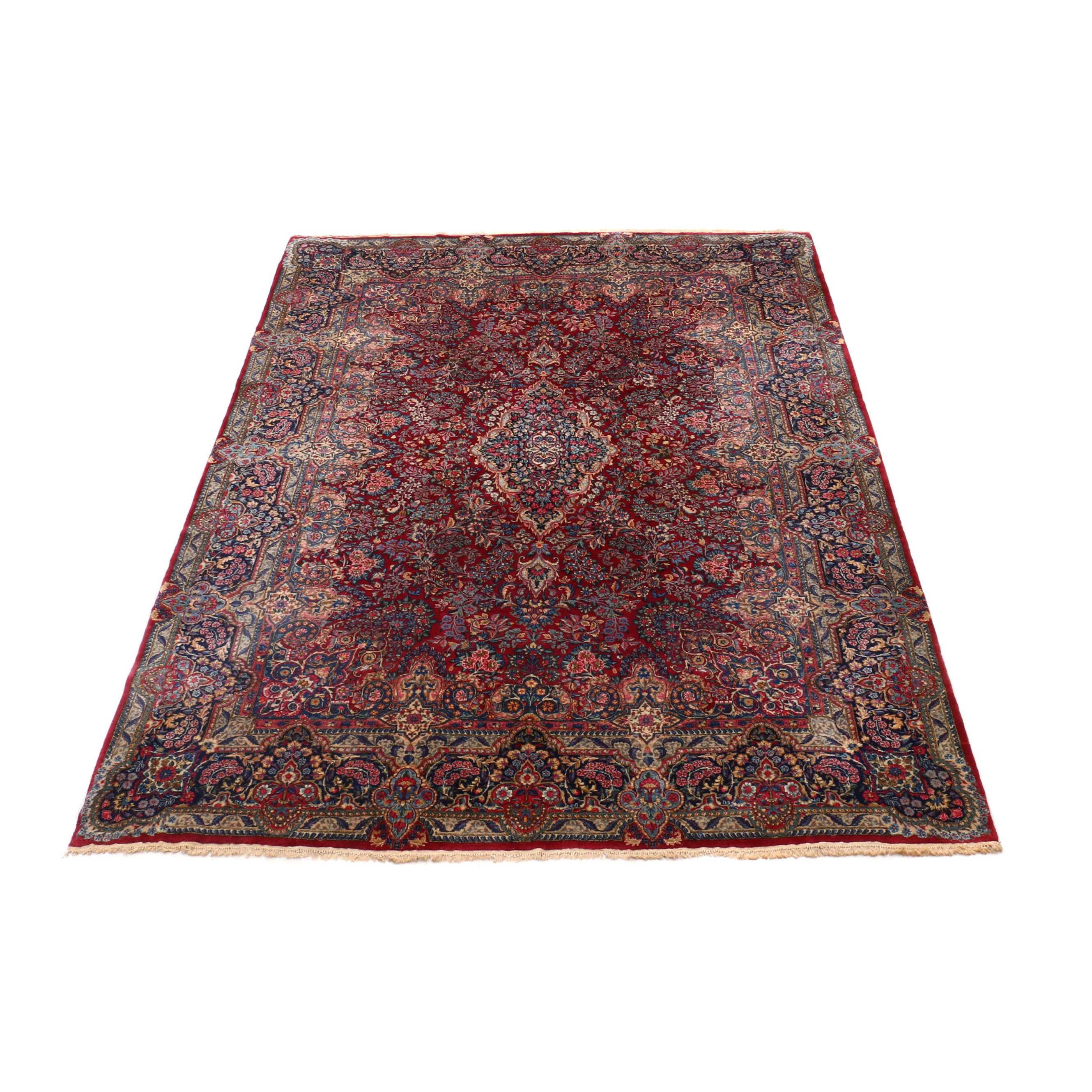 Hand-Knotted Persian Kerman Room Sized Wool Rug