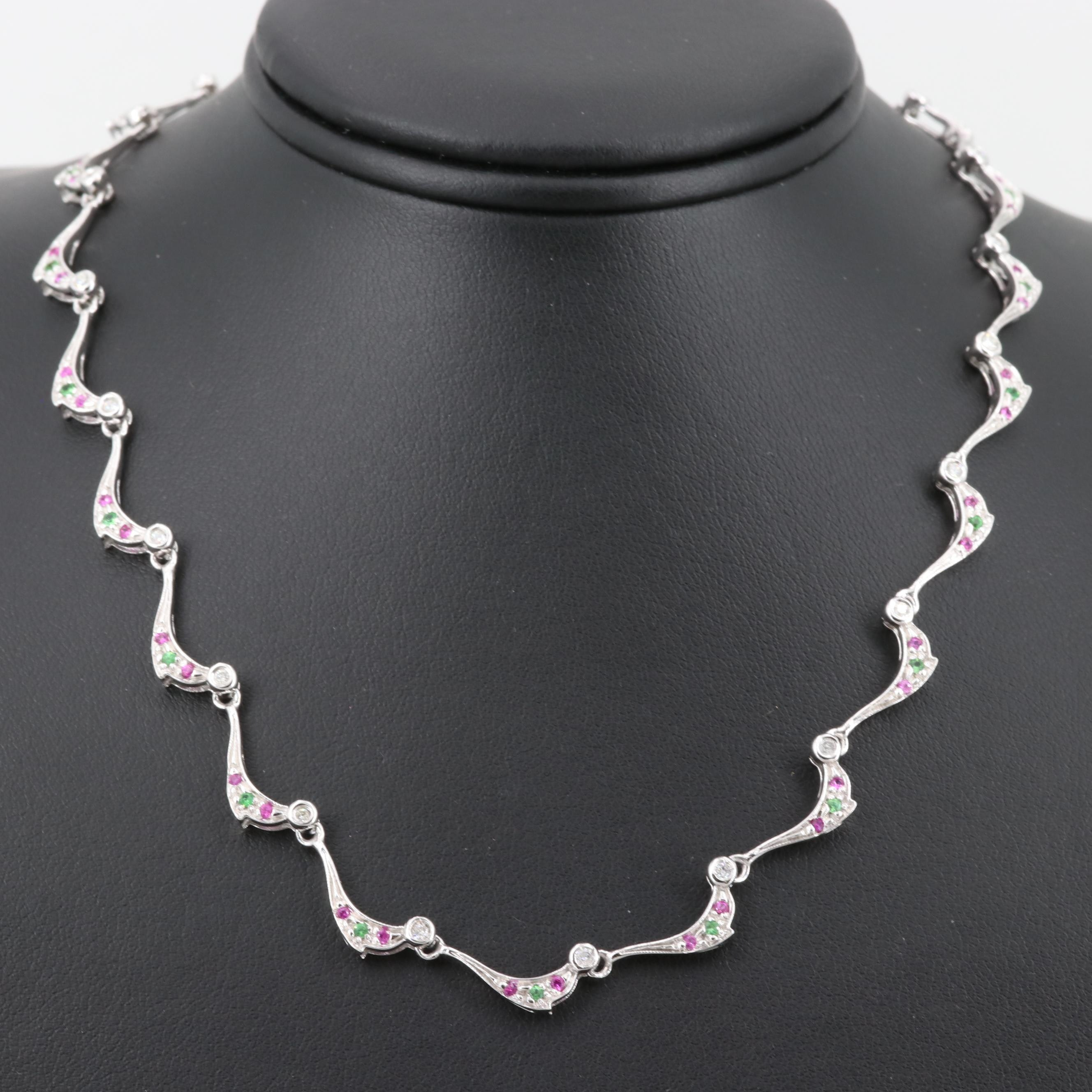 14K White Gold Diamond, Pink Sapphire and Tsavorite Necklace