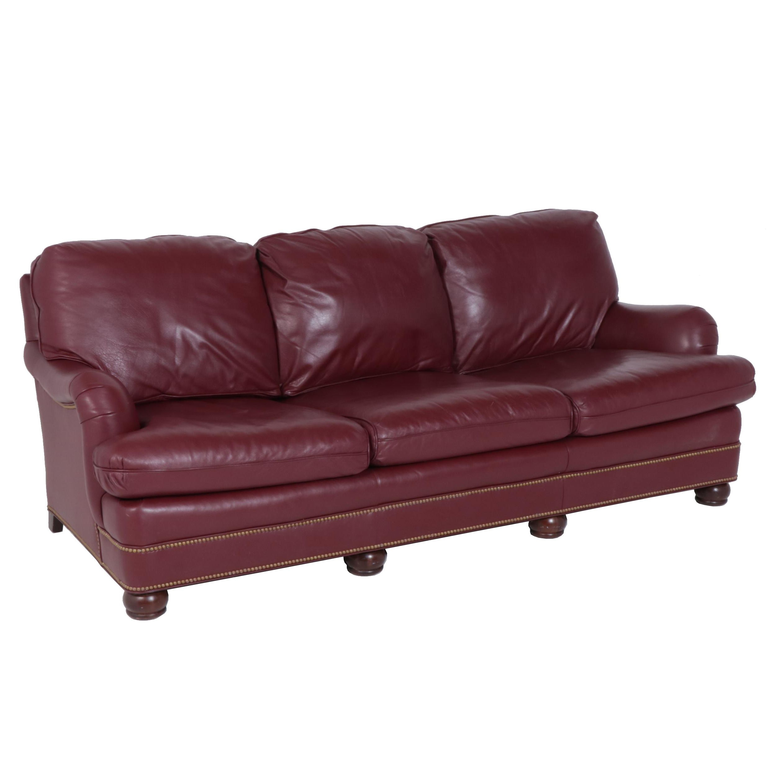 Hancock & Moore Red Leather and Wood Sofa, Late 20th Century