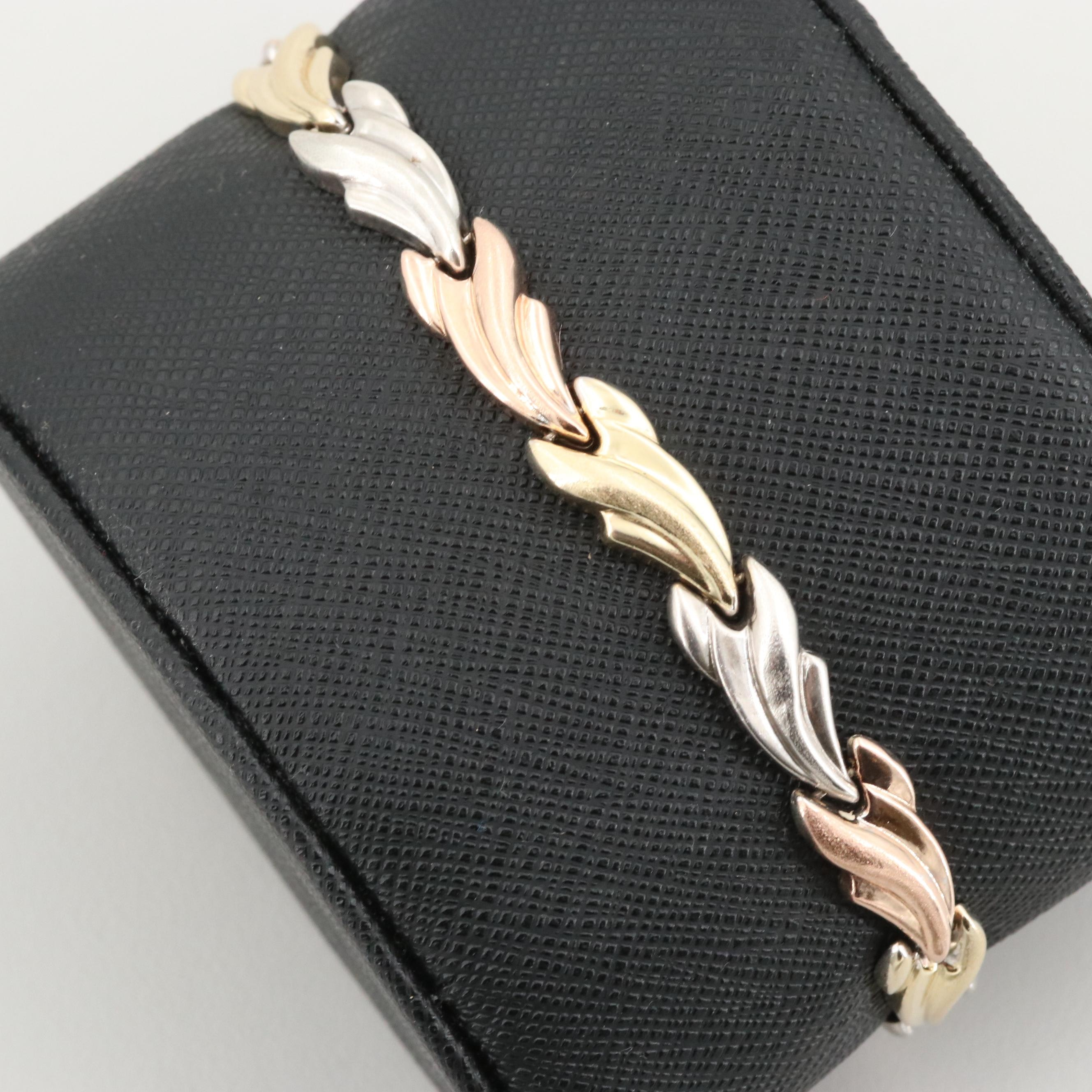 Sterling Silver Bracelet with Gold and Rose Wash