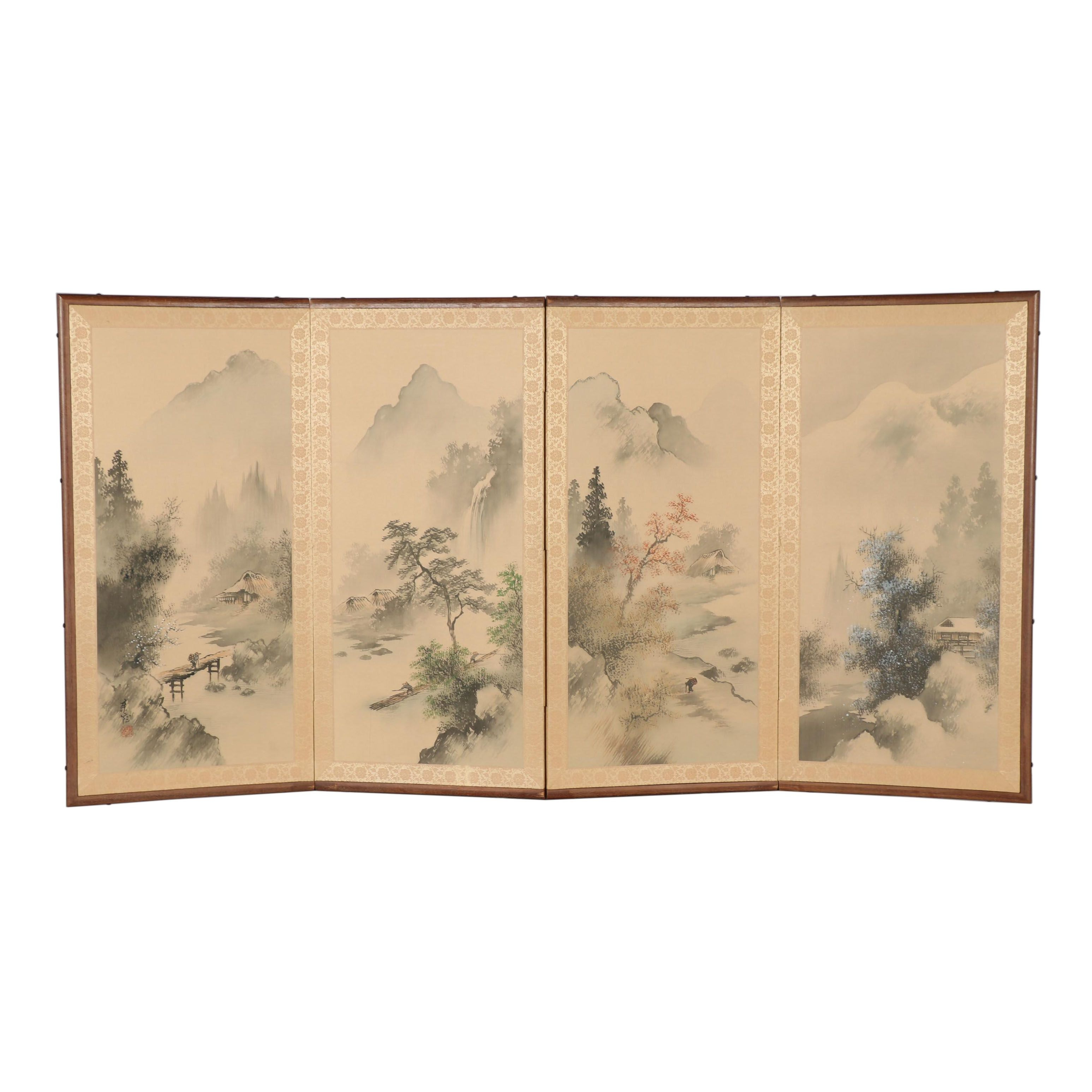 Japanese Hand-Painted Silk Folding Screen