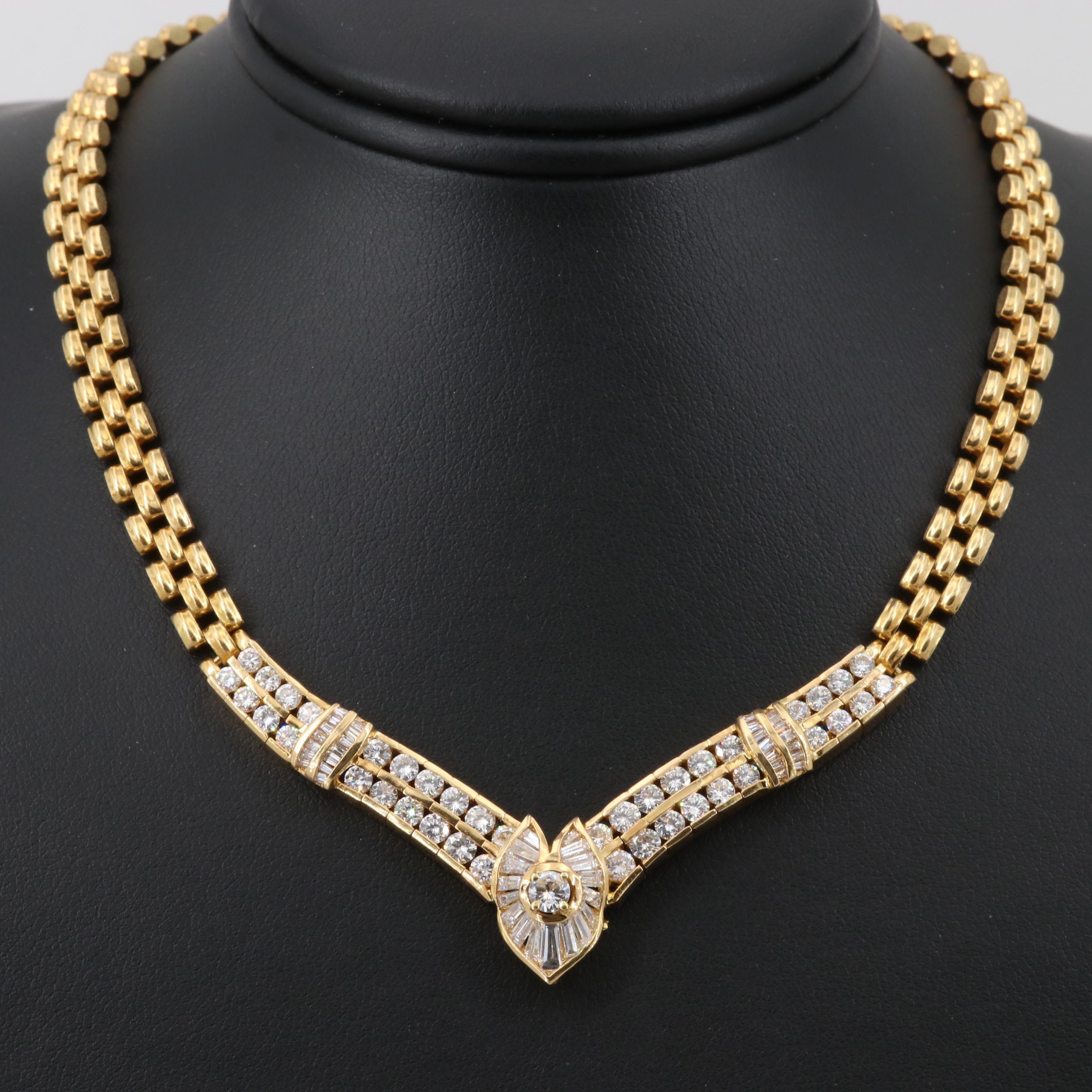 18K Yellow Gold 4.77 CTW Diamond Chevron Necklace