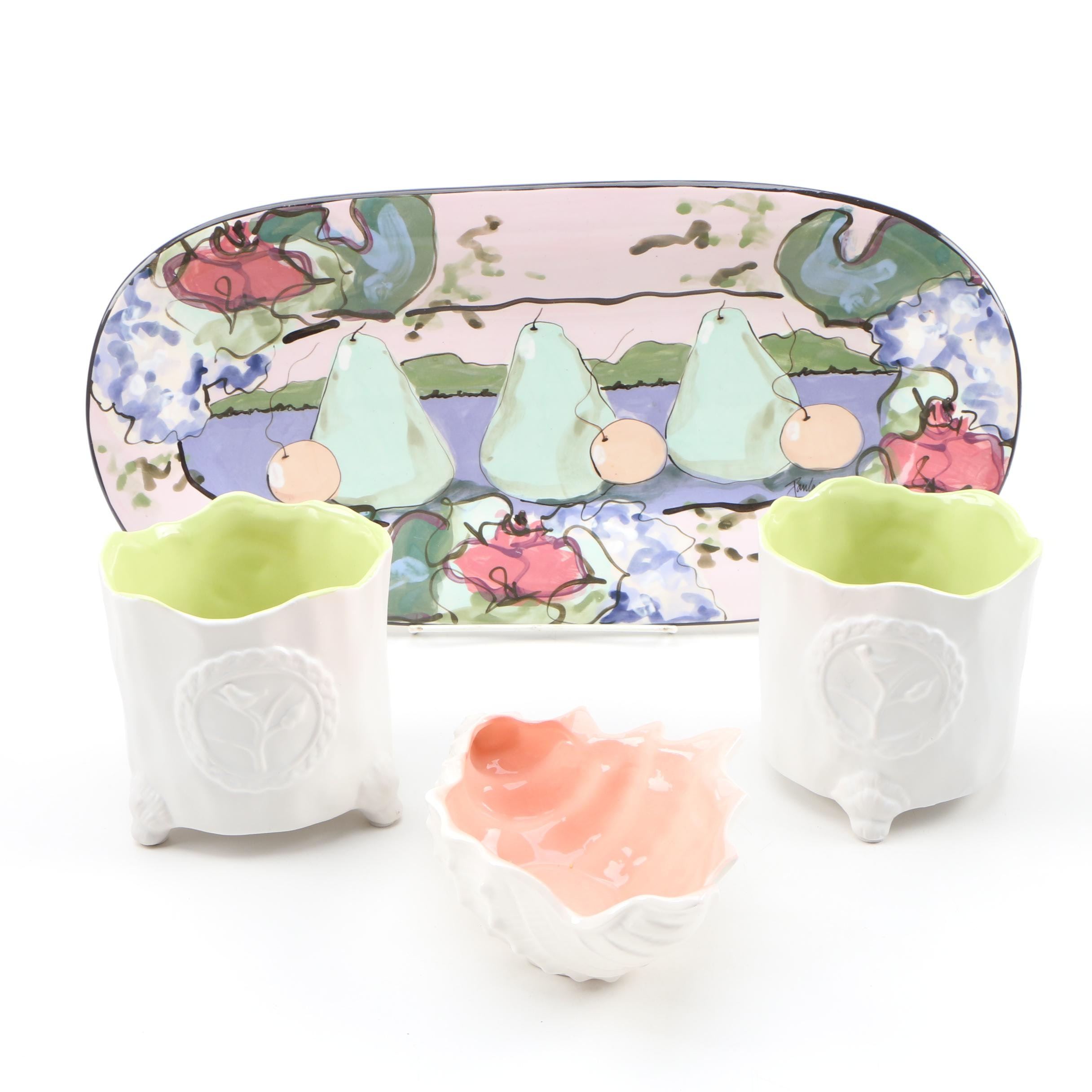 Hand-Painted Ceramic Platter with Cachepots and Fitz and Floyd Shell Bowl