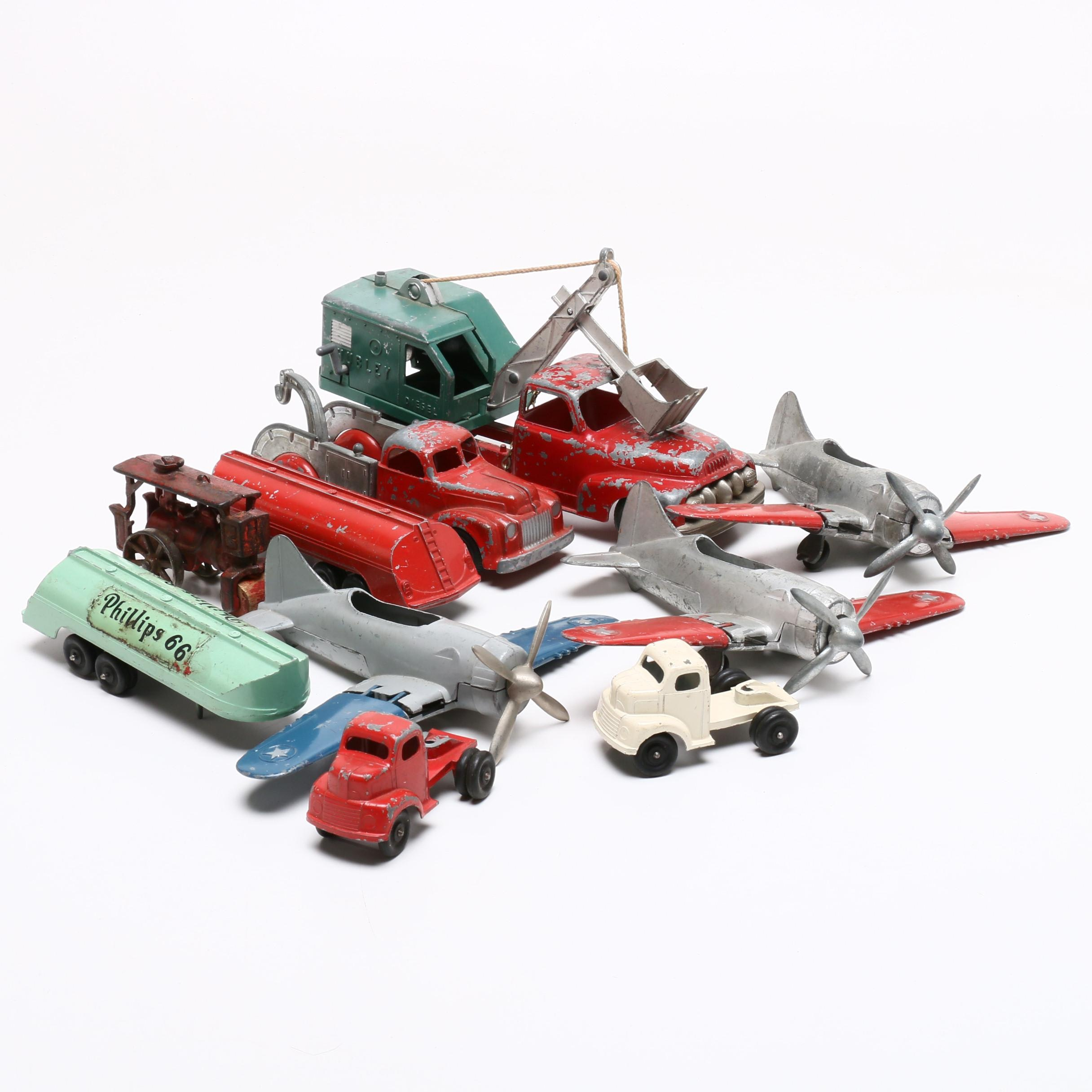 Die-Cast Trucks, Planes, and Construction Vehicles Including Hubley, Circa 1950s
