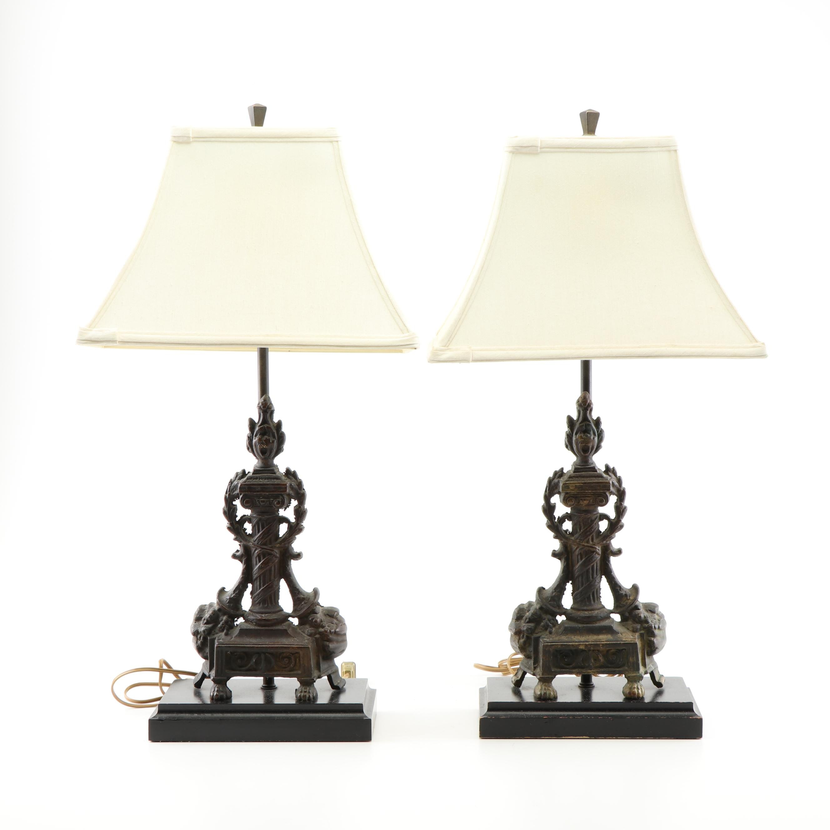 Neoclassical Style Cast Iron Table Lamps