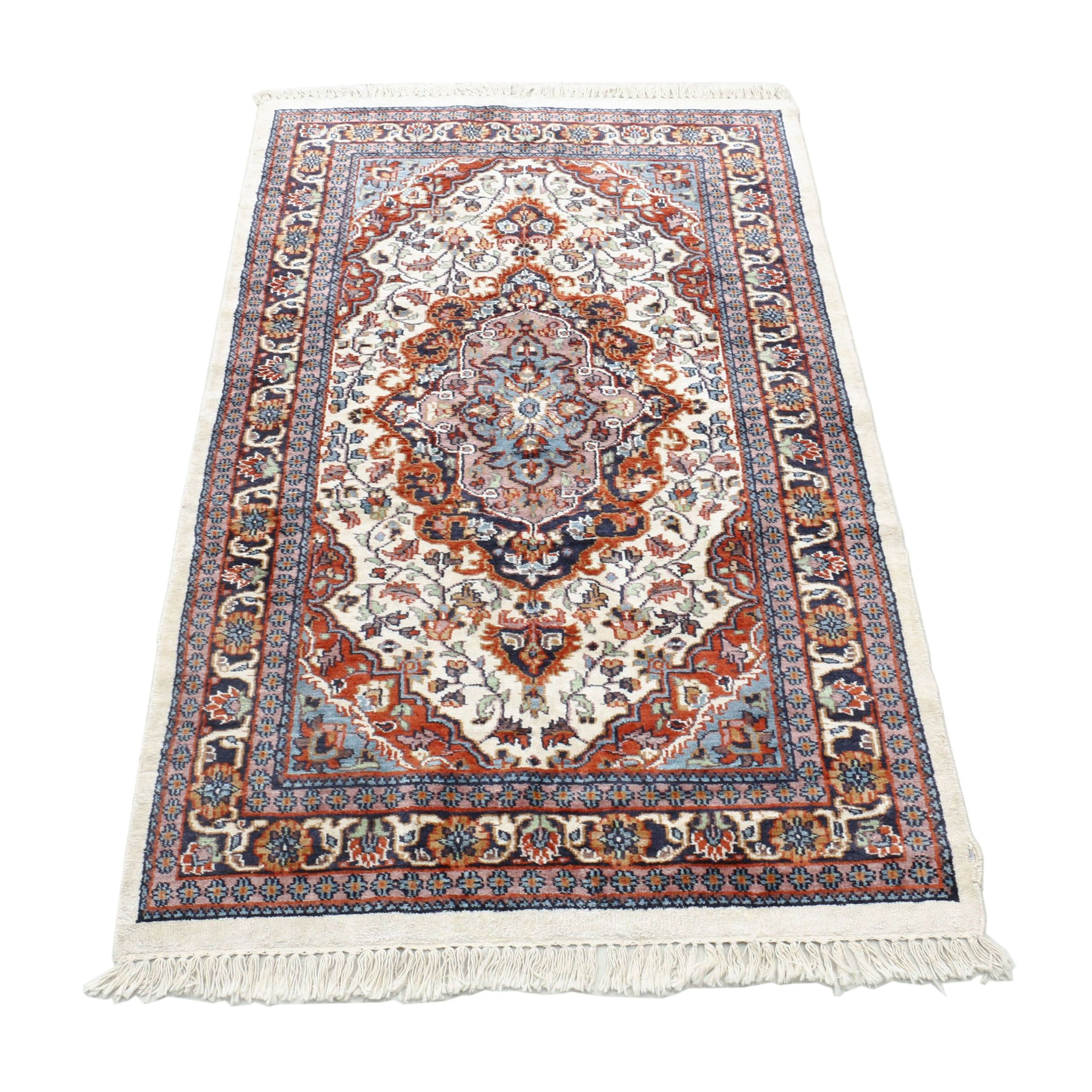 Hand-Knotted Persian Borchalu Wool and Silk Rug