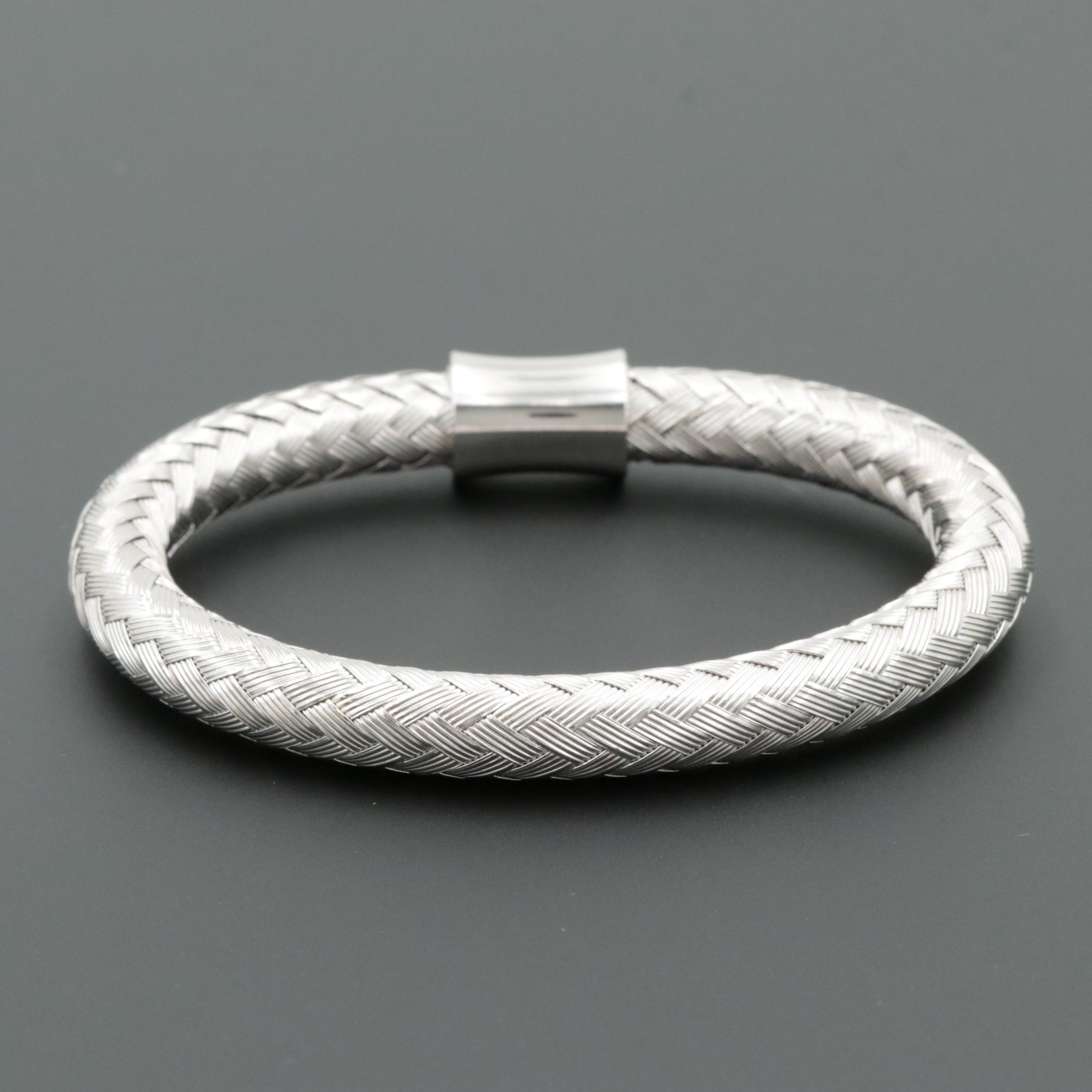 Silver Tone Woven Flexible Bangle Bracelet