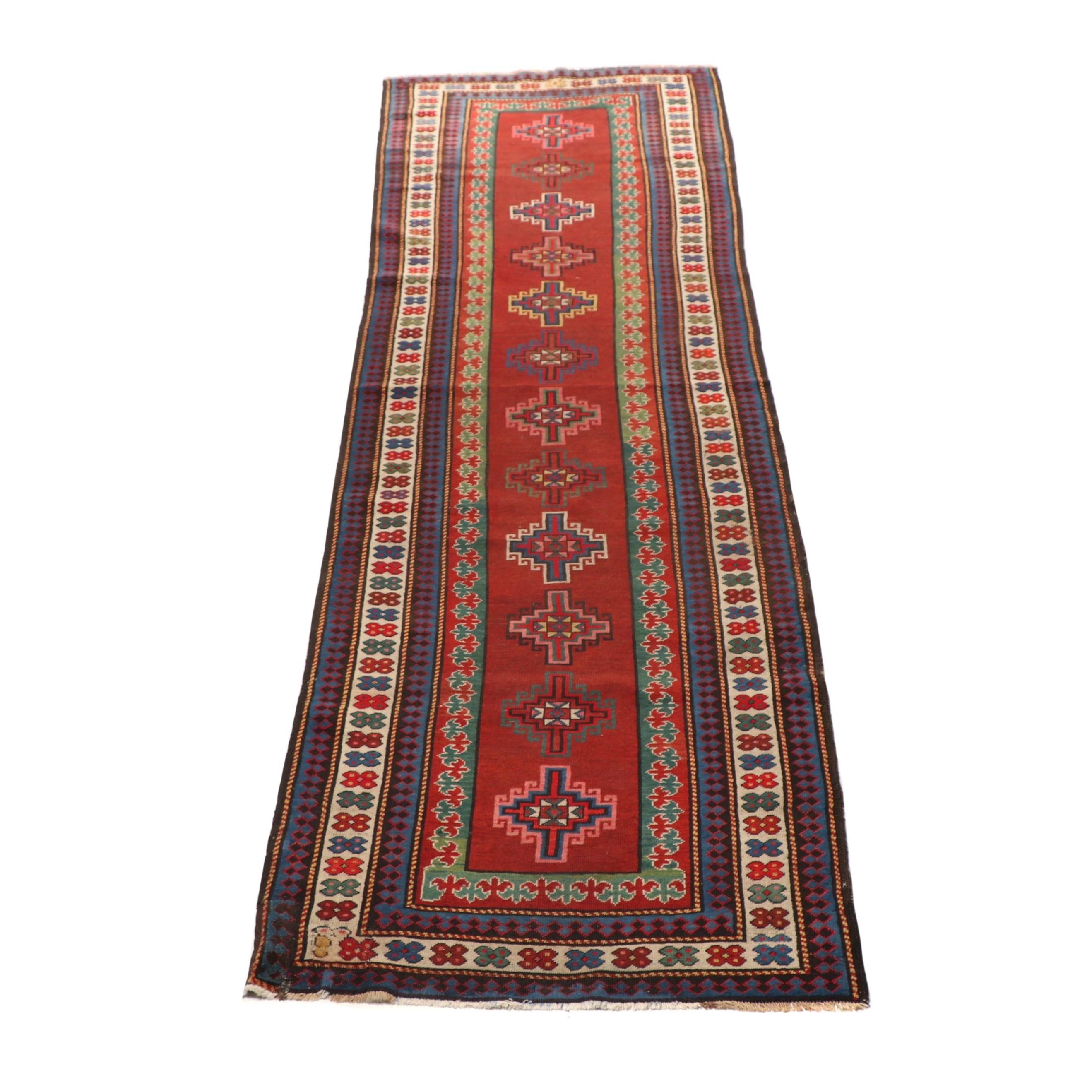 Hand-Knotted Russian Kazak Wool Carpet Runner