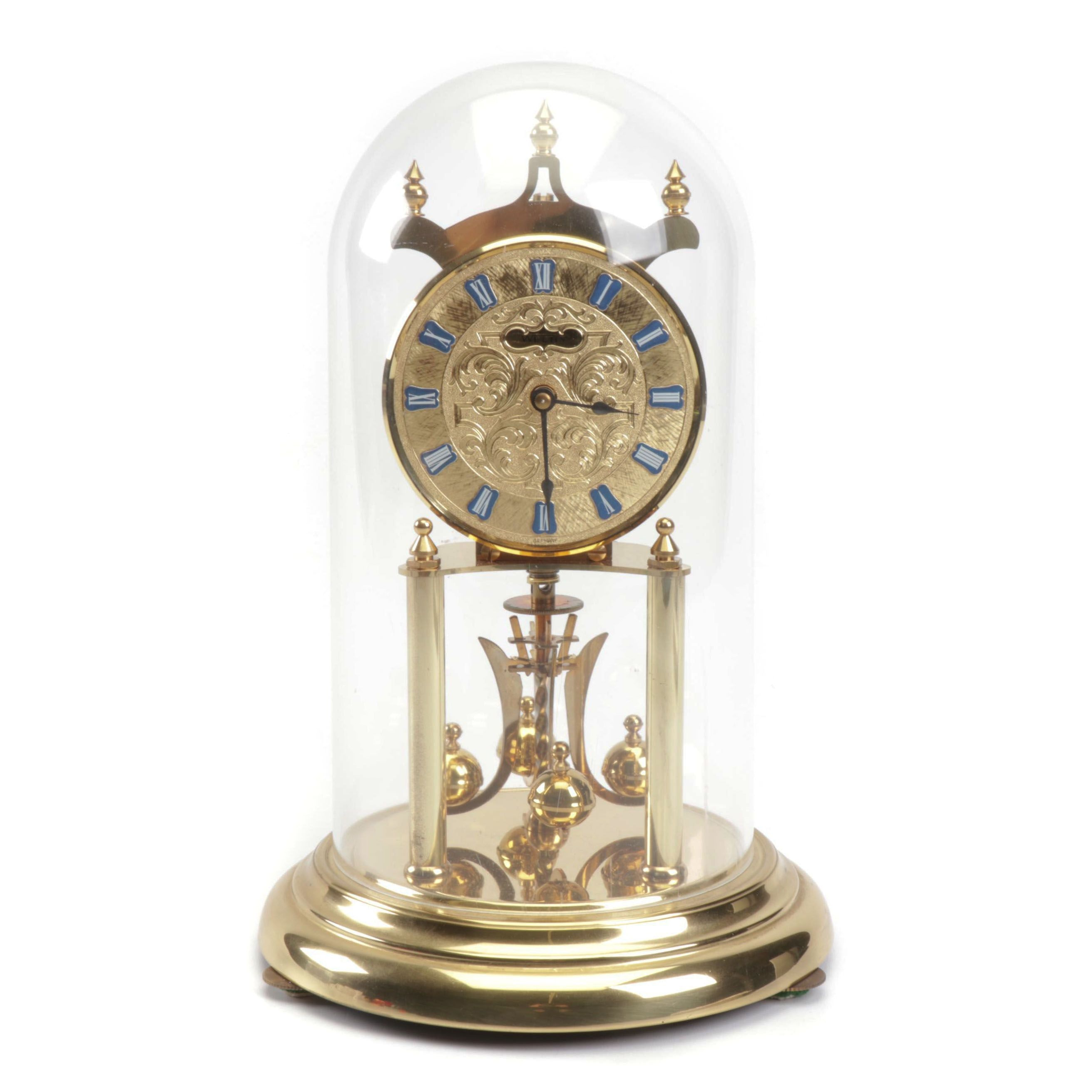Welby German Hollywood Regency Style Gold Tone Dome Clock