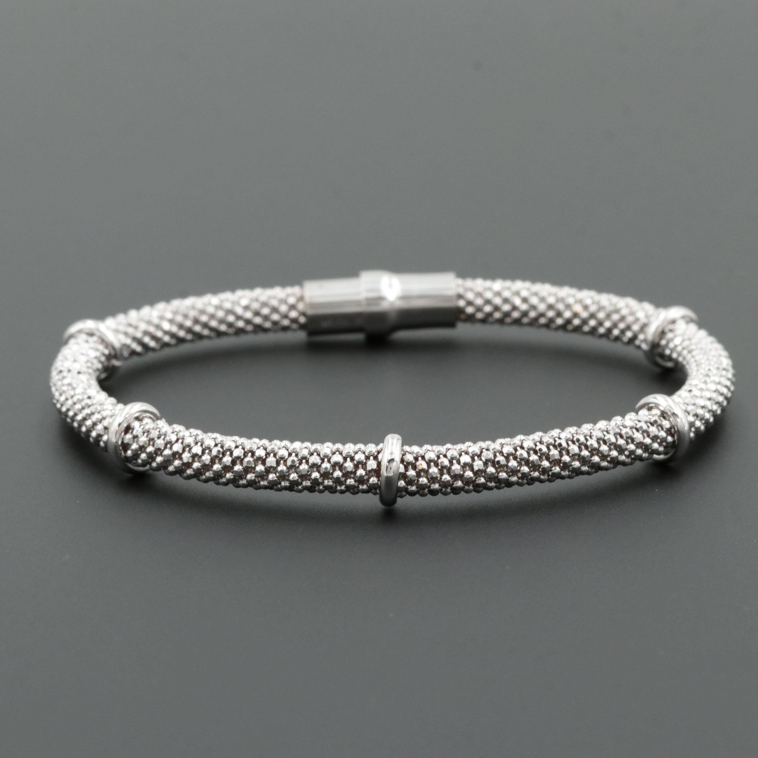 Rosa Leal Sterling Silver Flexible Bangle Bracelet