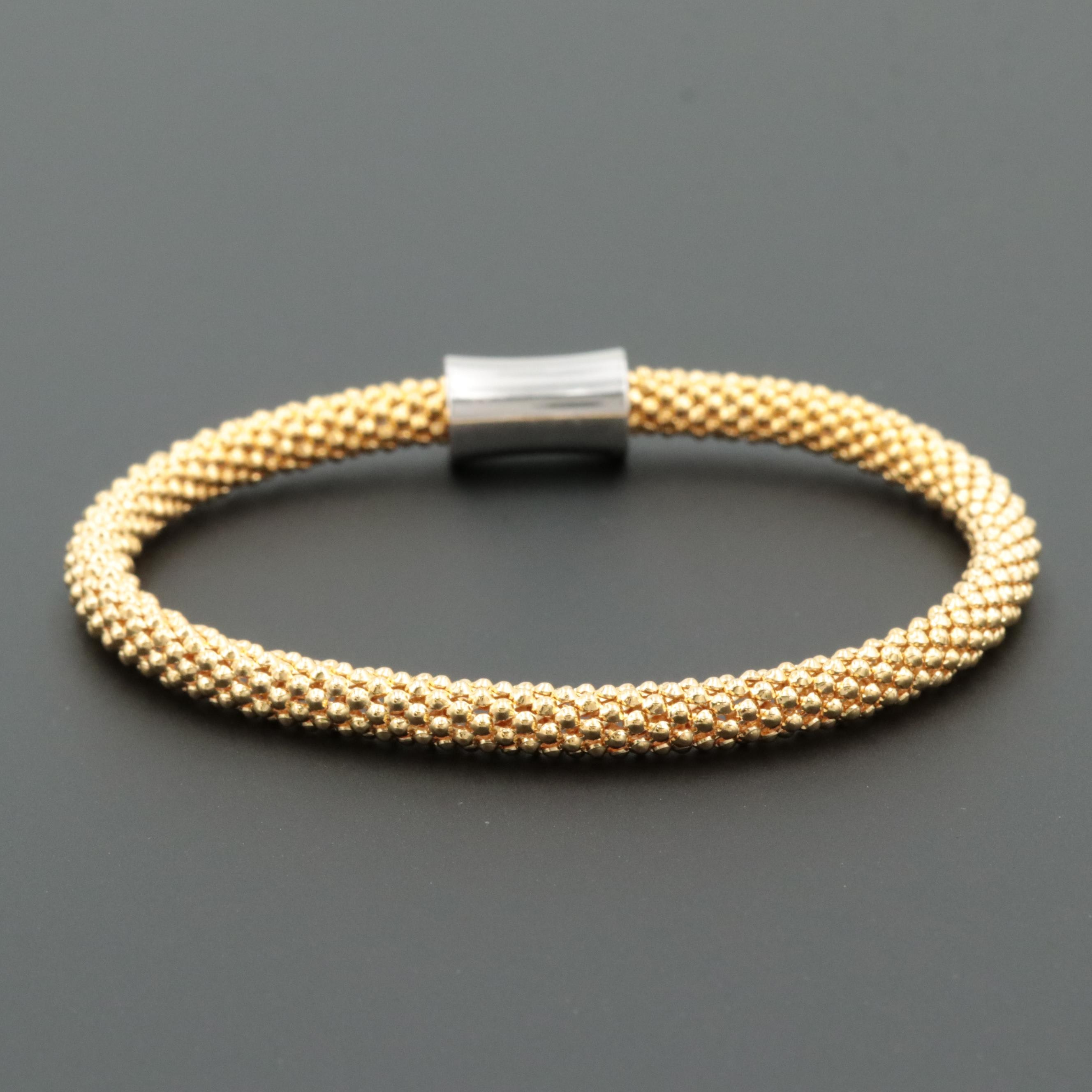 Gold Wash on Sterling Silver Flexible Bangle Bracelet