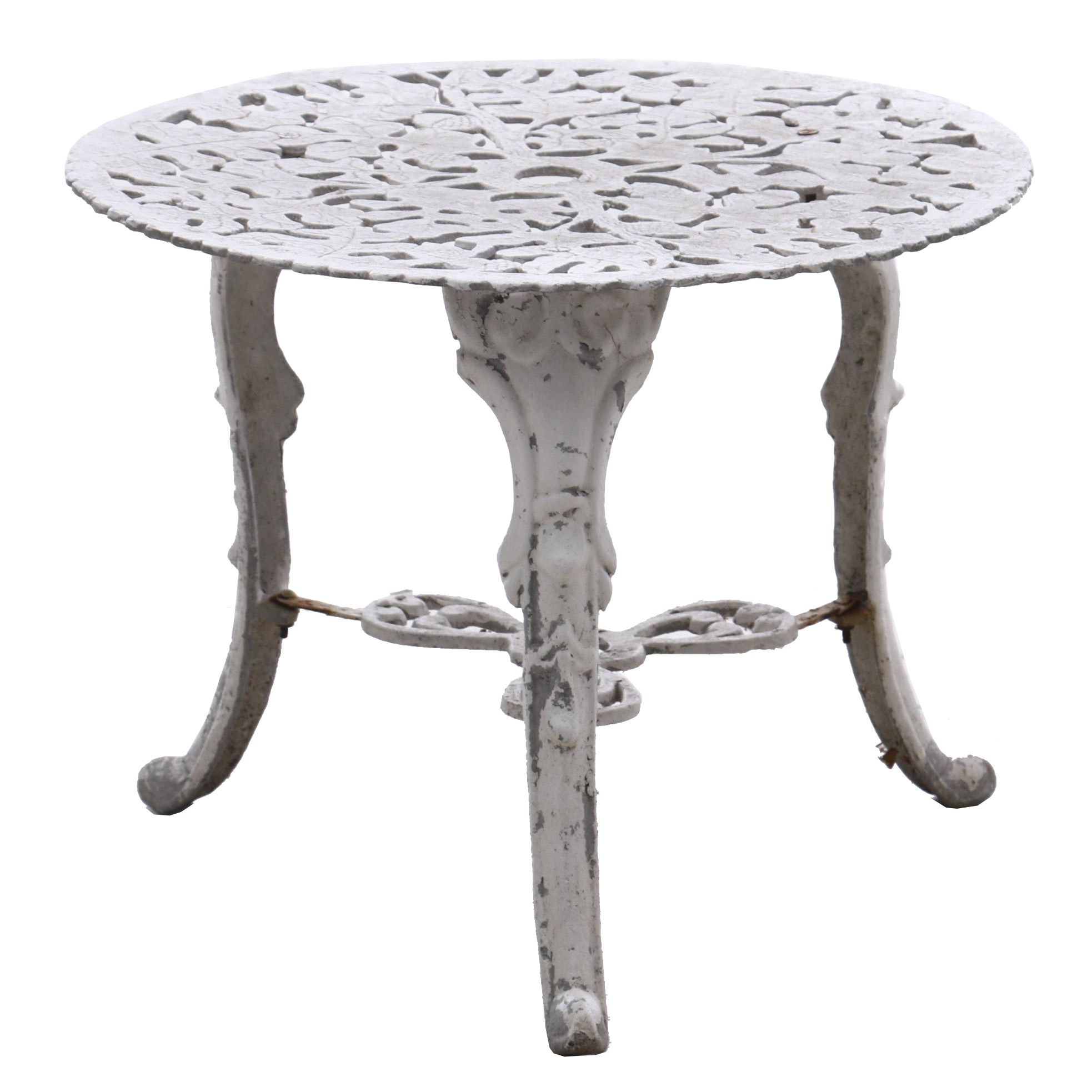 Wrought Iron Patio Side Table in White