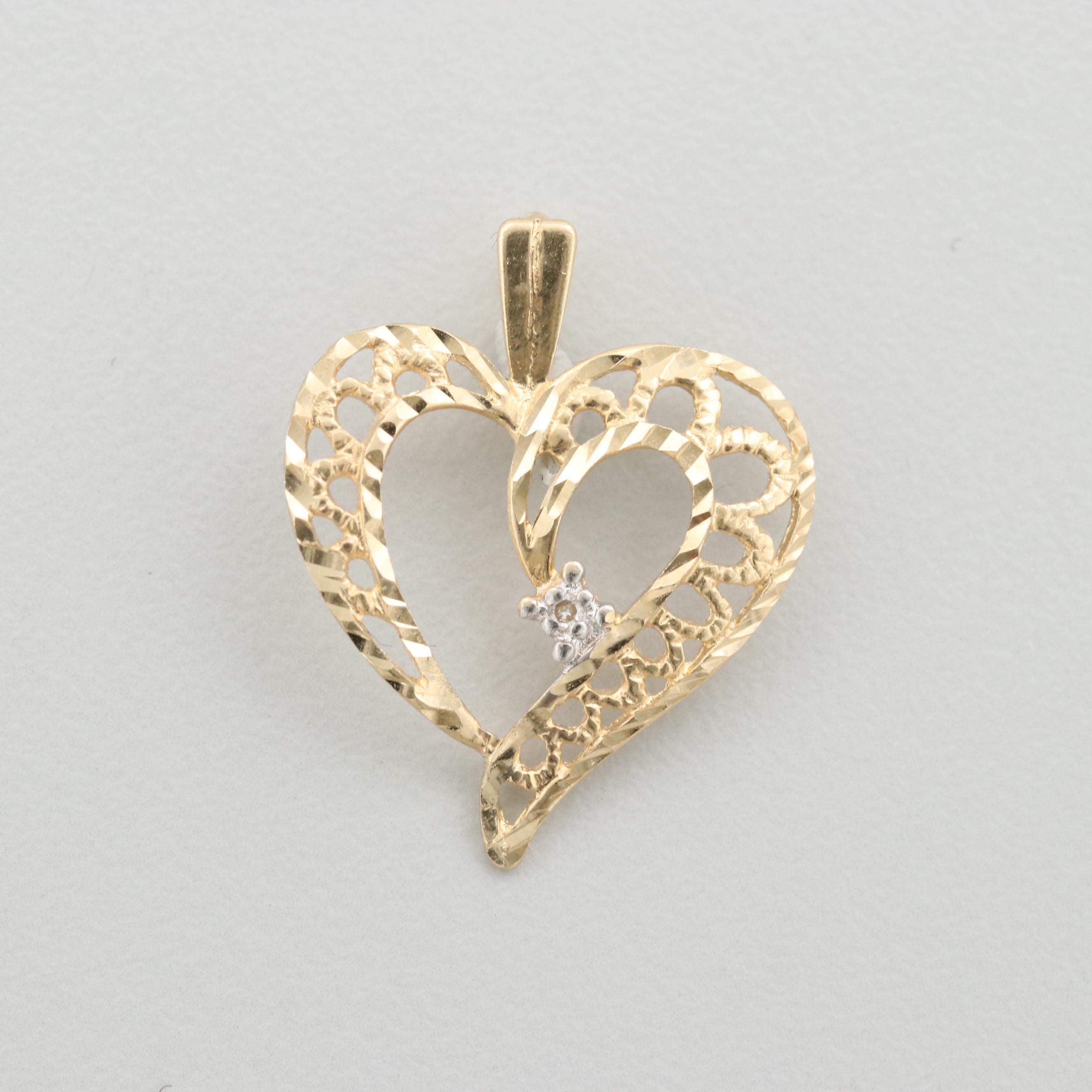 14K Yellow Gold Diamond Openwork Heart Pendant