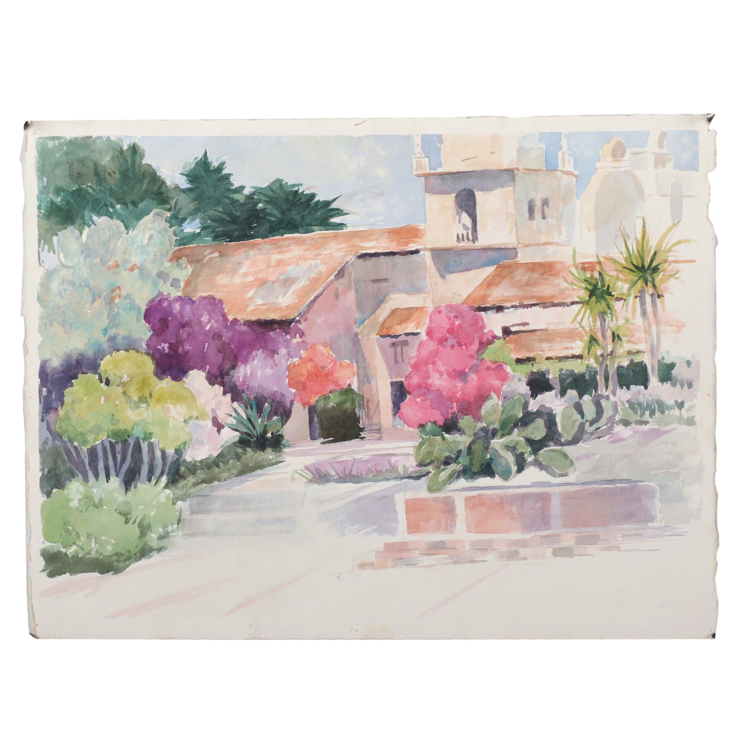 Late 20th Century Double-Sided Watercolor Painting