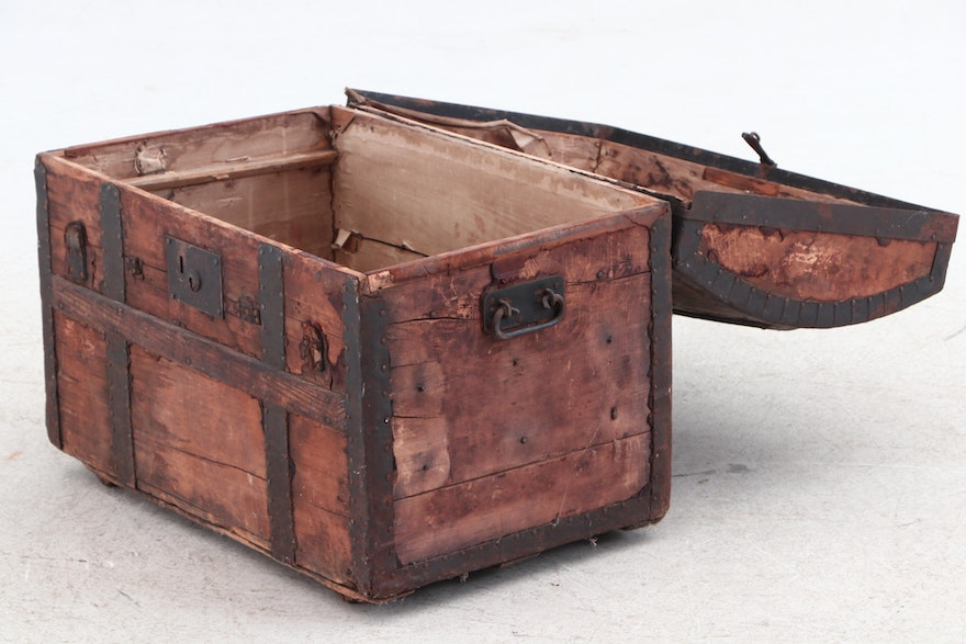 Crouch & Fitzgerald Antique Trunk, Circa Mid-19th Century