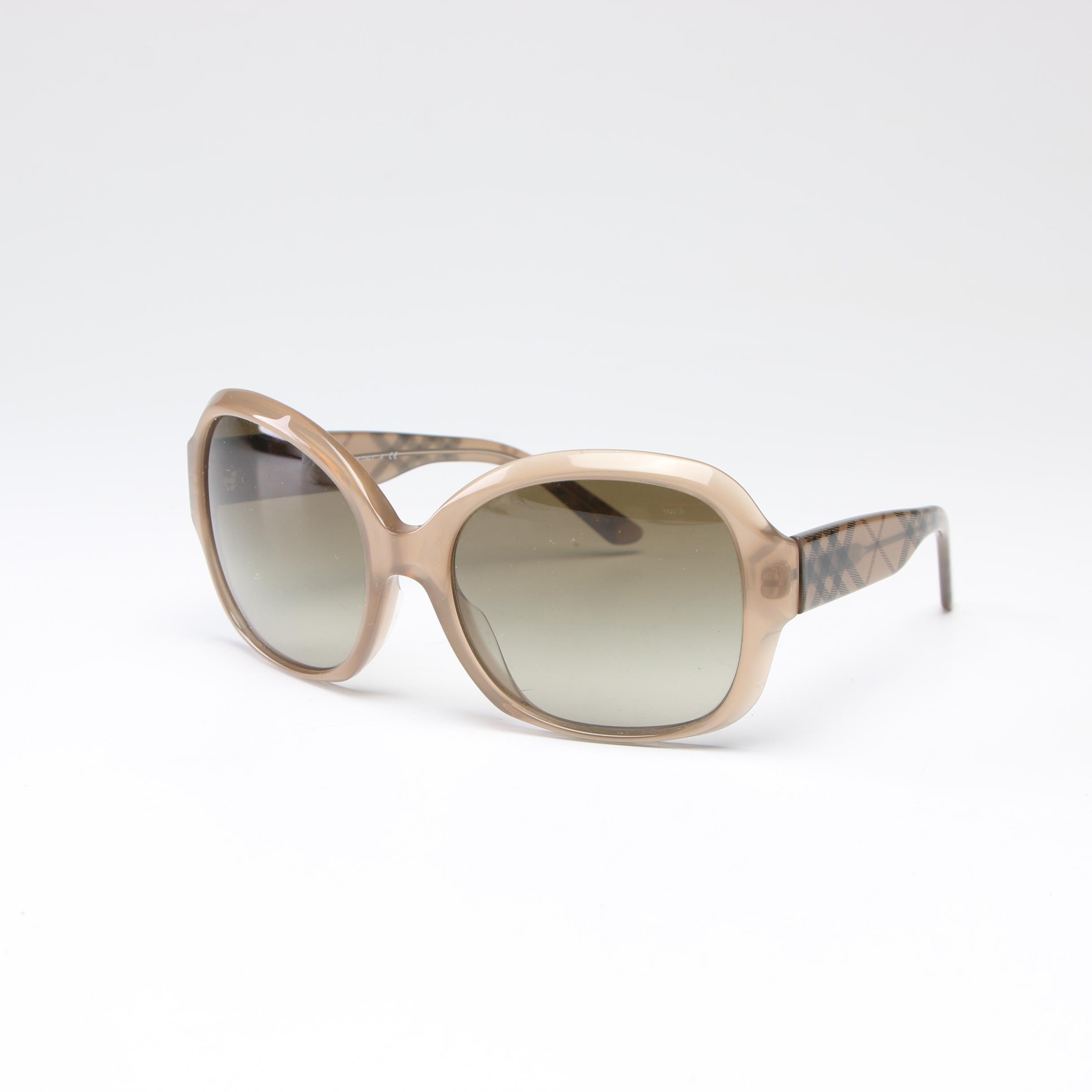"Burberry ""Haymarket Check"" Sunglasses with Case, Made in Italy"