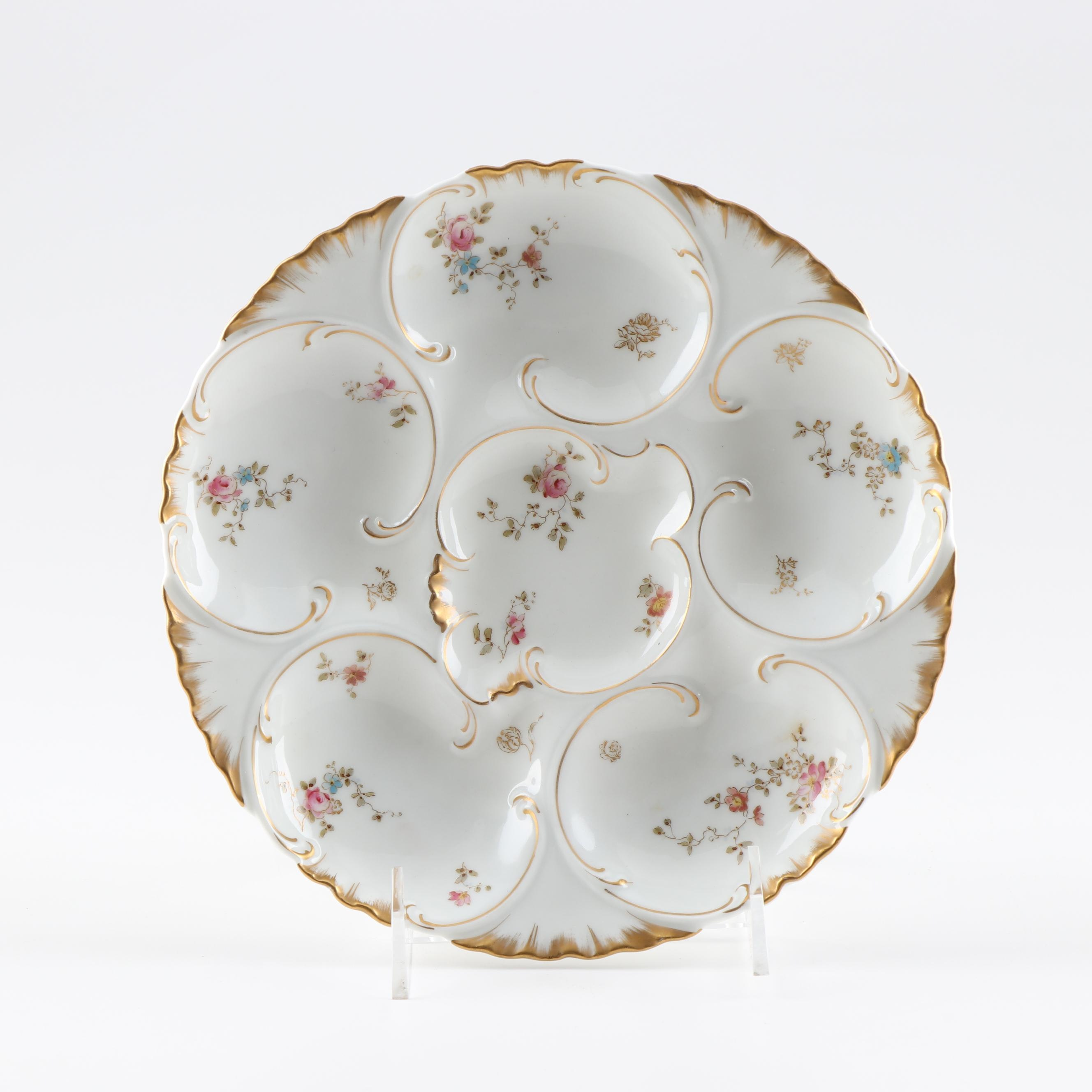 Haviland & Co. Hand Painted Porcelain Oyster Plate
