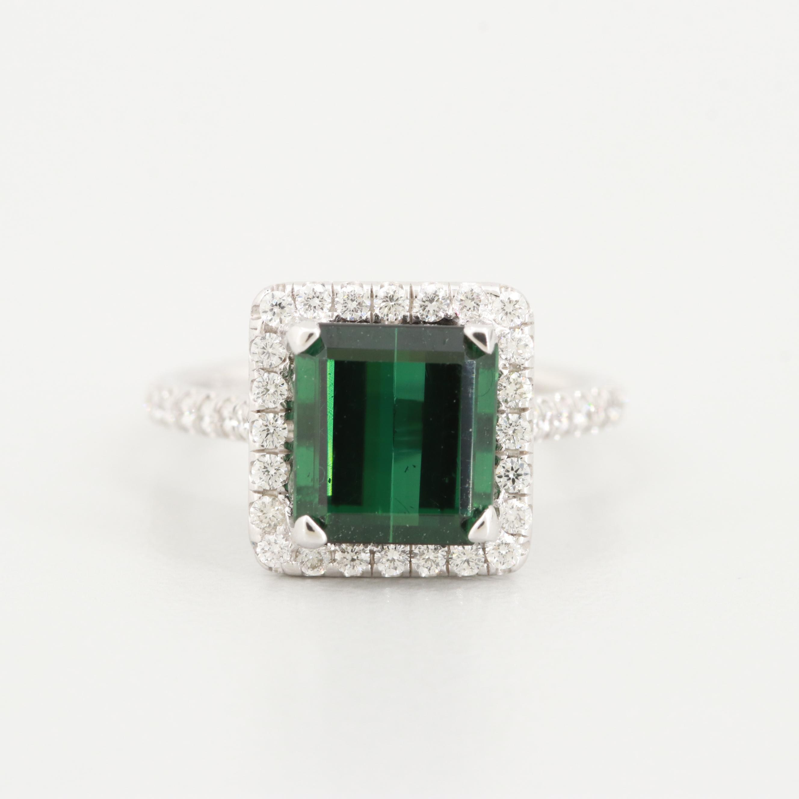 Uneek 14K White Gold Green Tourmaline and Diamond Ring