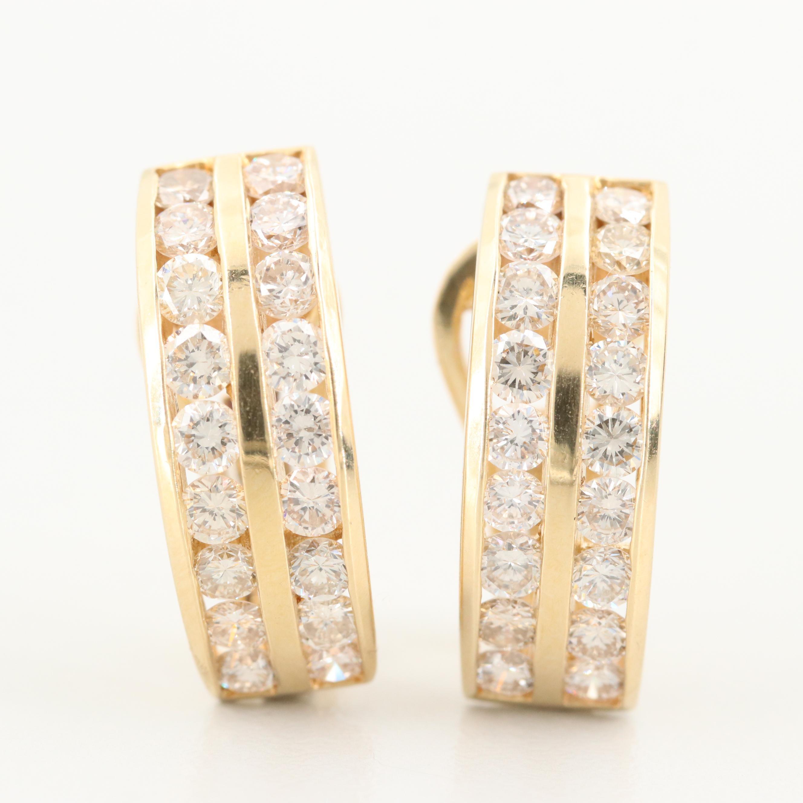 14K Yellow Gold 2.16 CTW Diamond J Hoop Earrings
